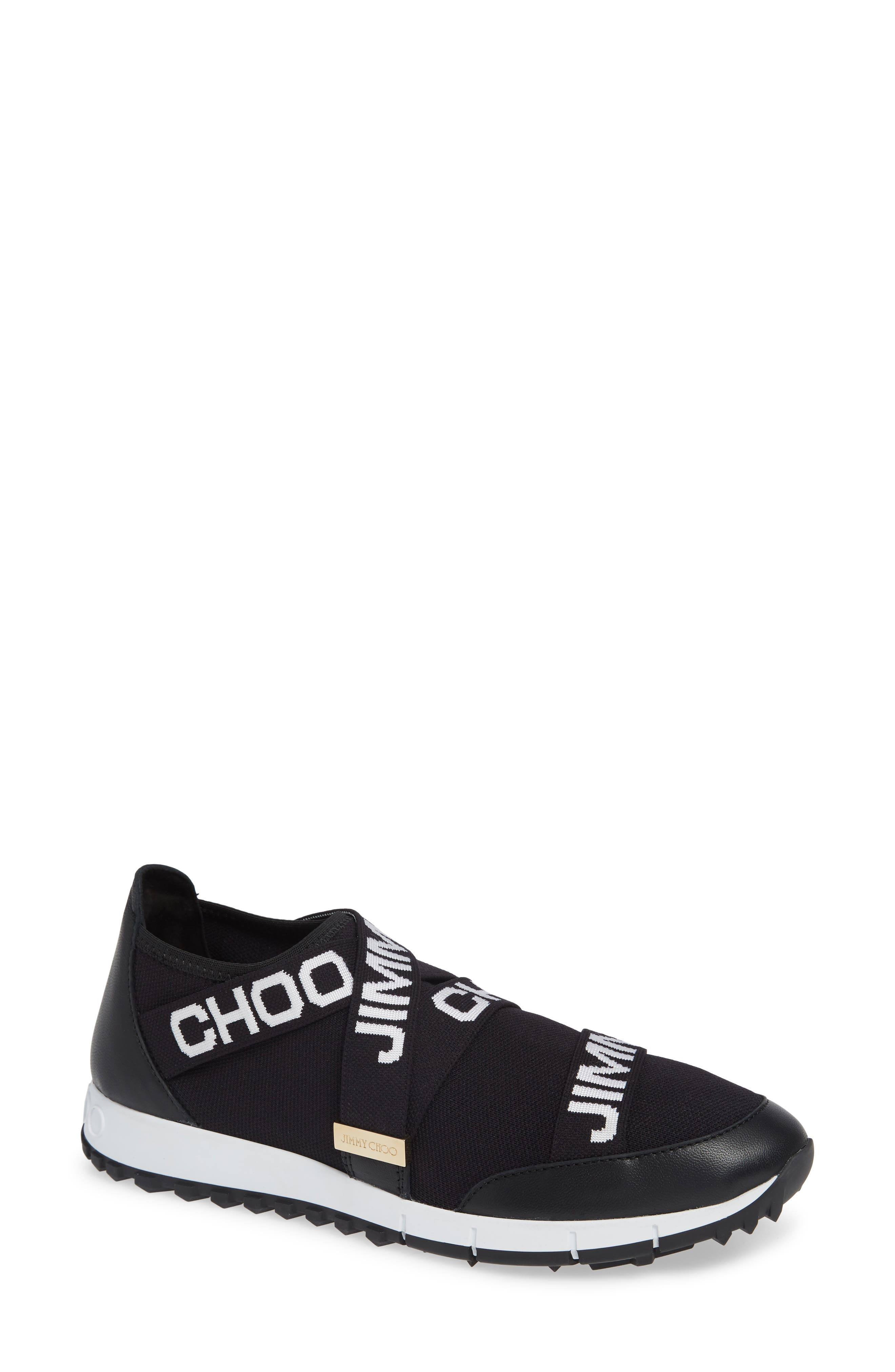Toronto Logo Knit & Leather Sneakers in Black/ White