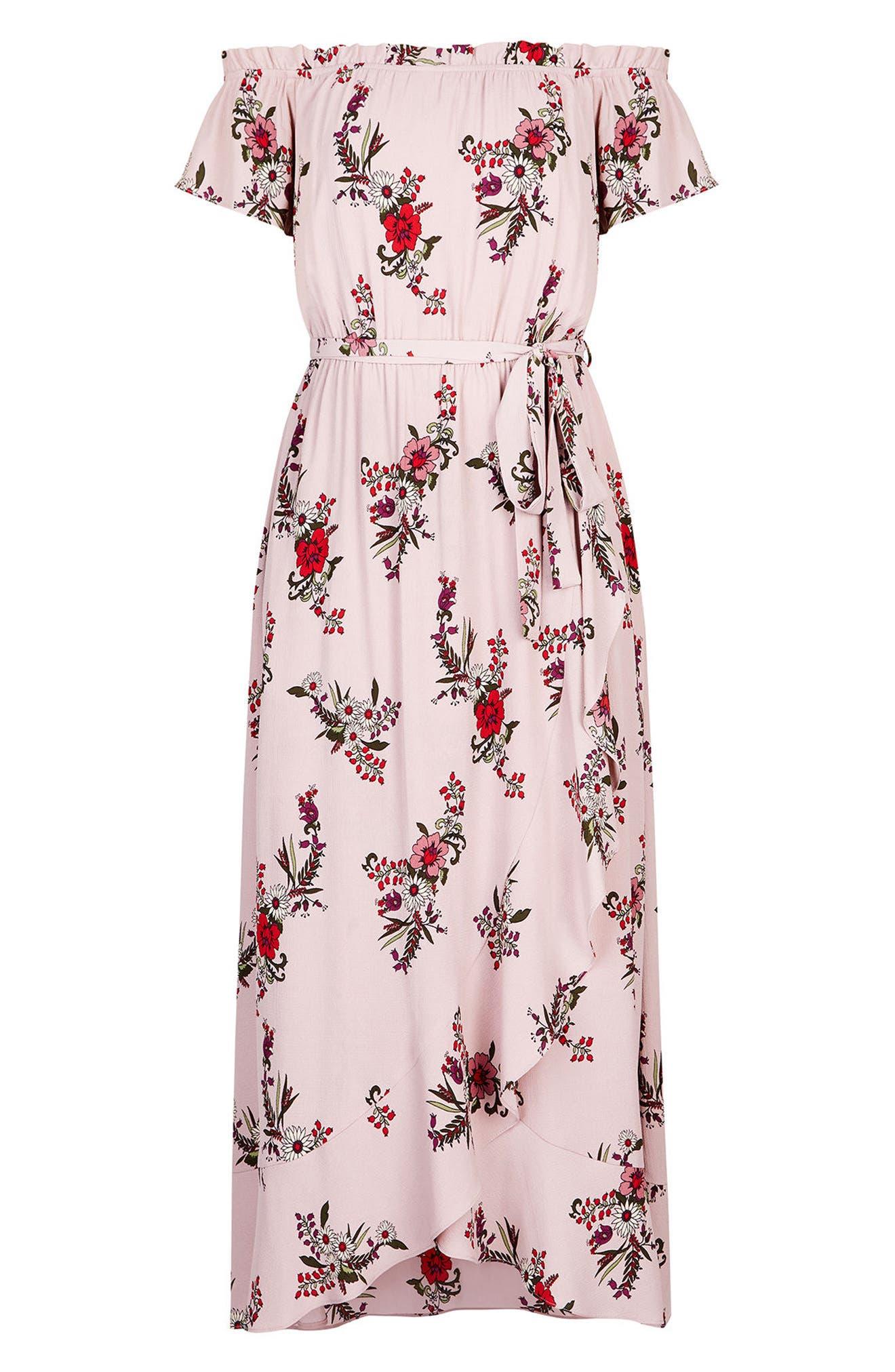 Sky Floral Off the Shoulder Maxi Dress,                             Alternate thumbnail 3, color,                             512