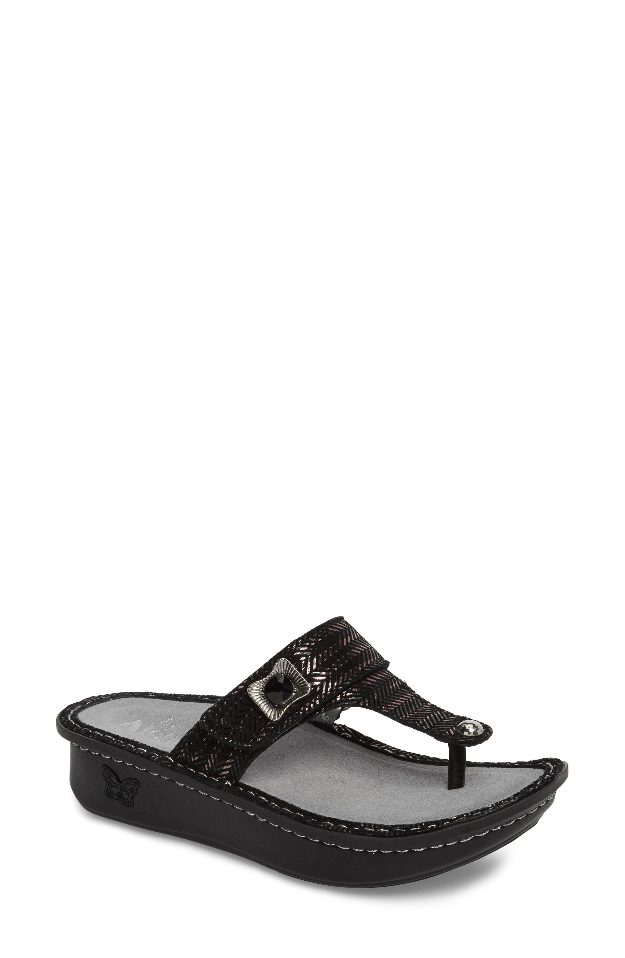'Carina' Sandal,                         Main,                         color, CHAINED BLACK LEATHER