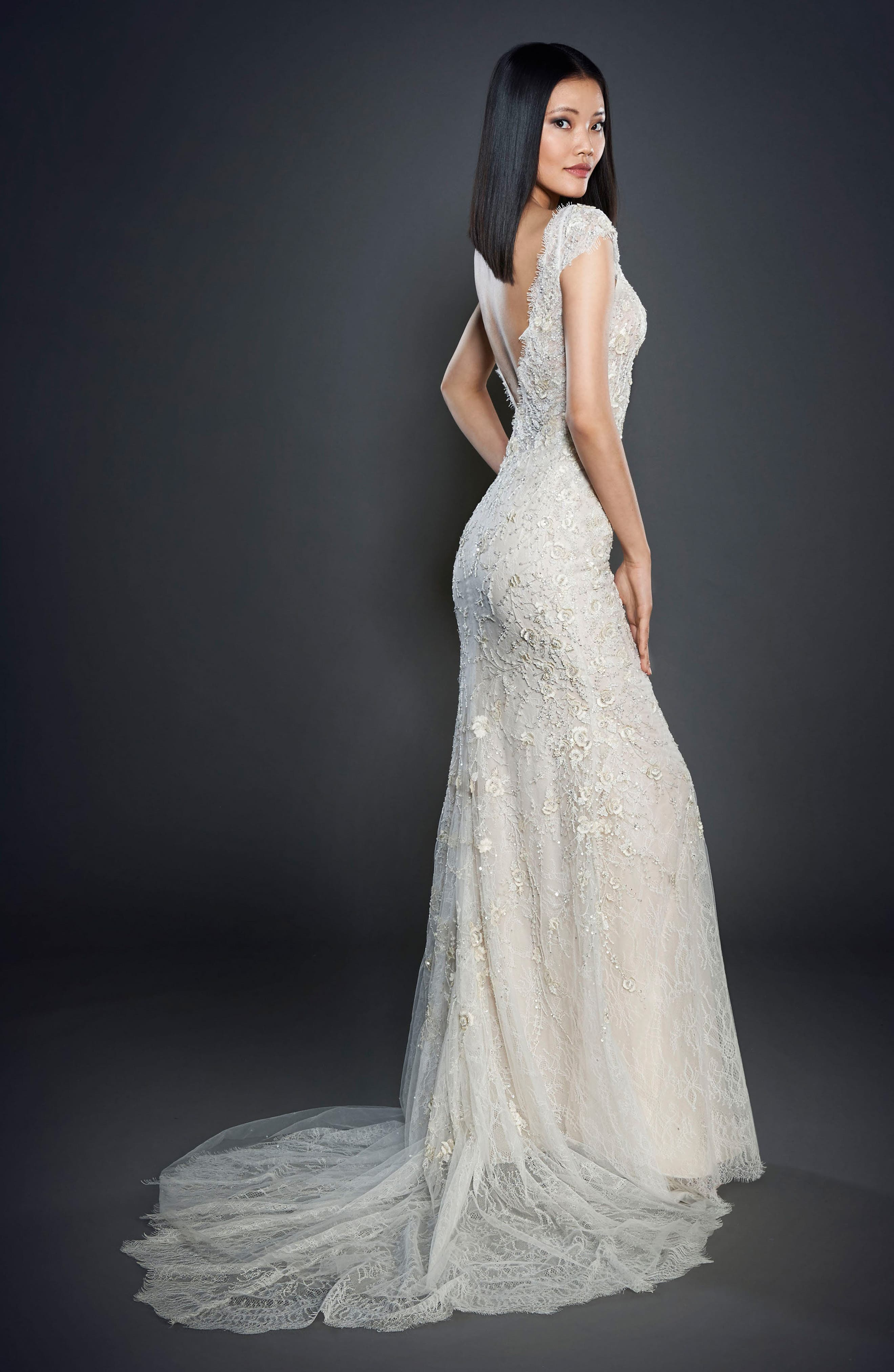 Embellished Lace Cap Sleeve Gown,                             Alternate thumbnail 2, color,