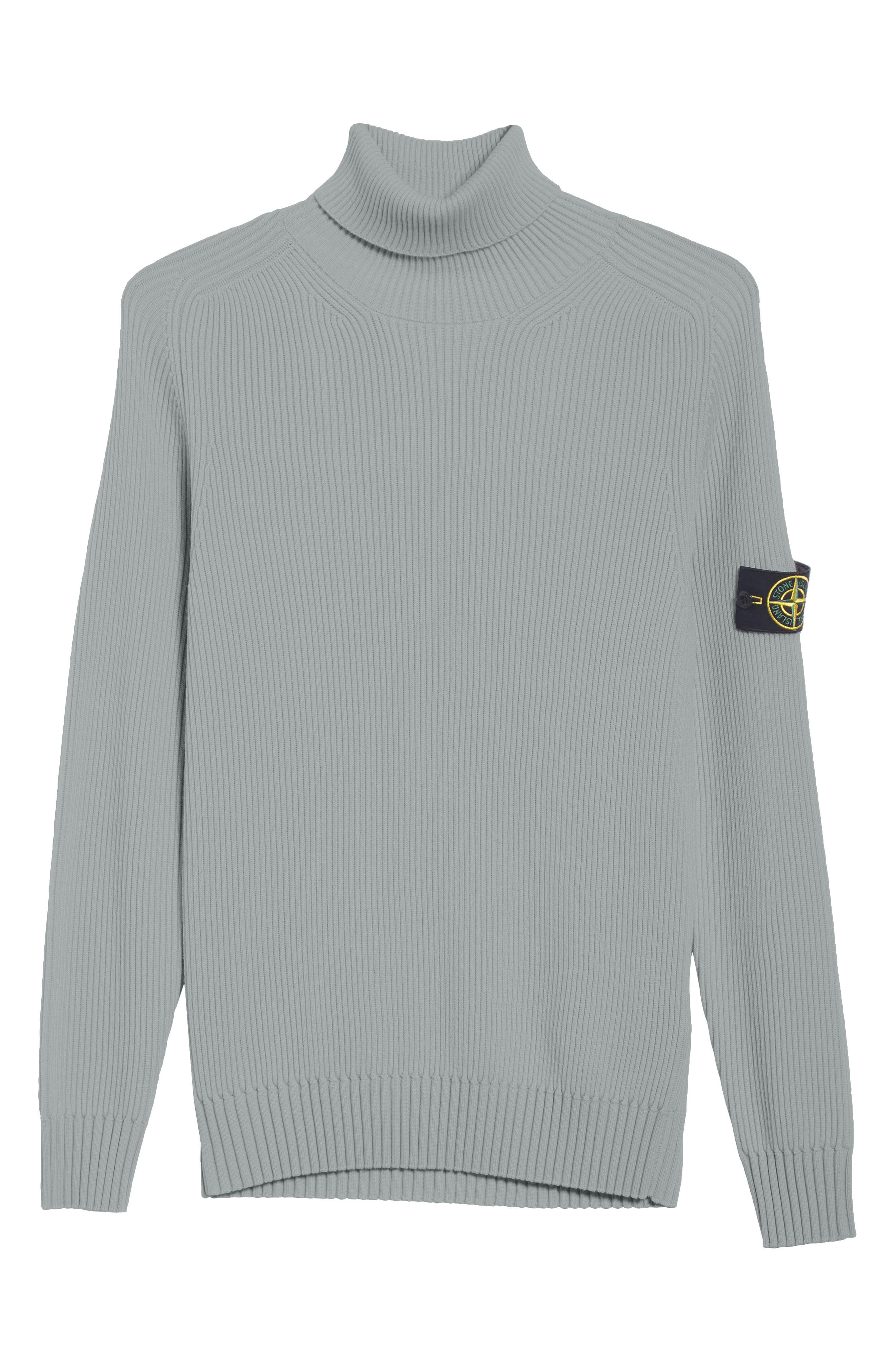 Ribbed Wool Turtleneck Sweater,                             Alternate thumbnail 6, color,                             GREY