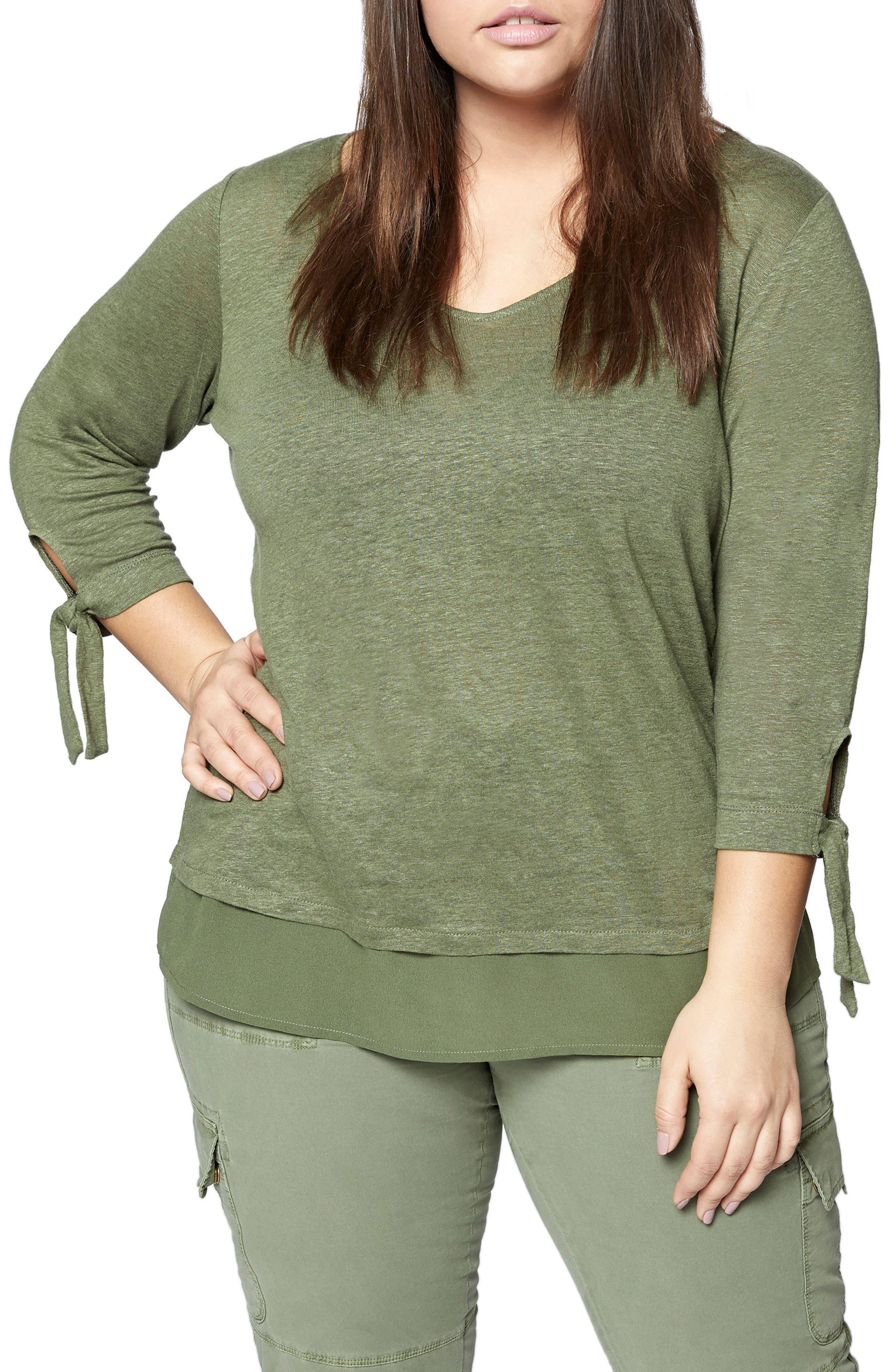 Plus Size Sanctuary Sylvie Tiered Hem Linen Tee, Green