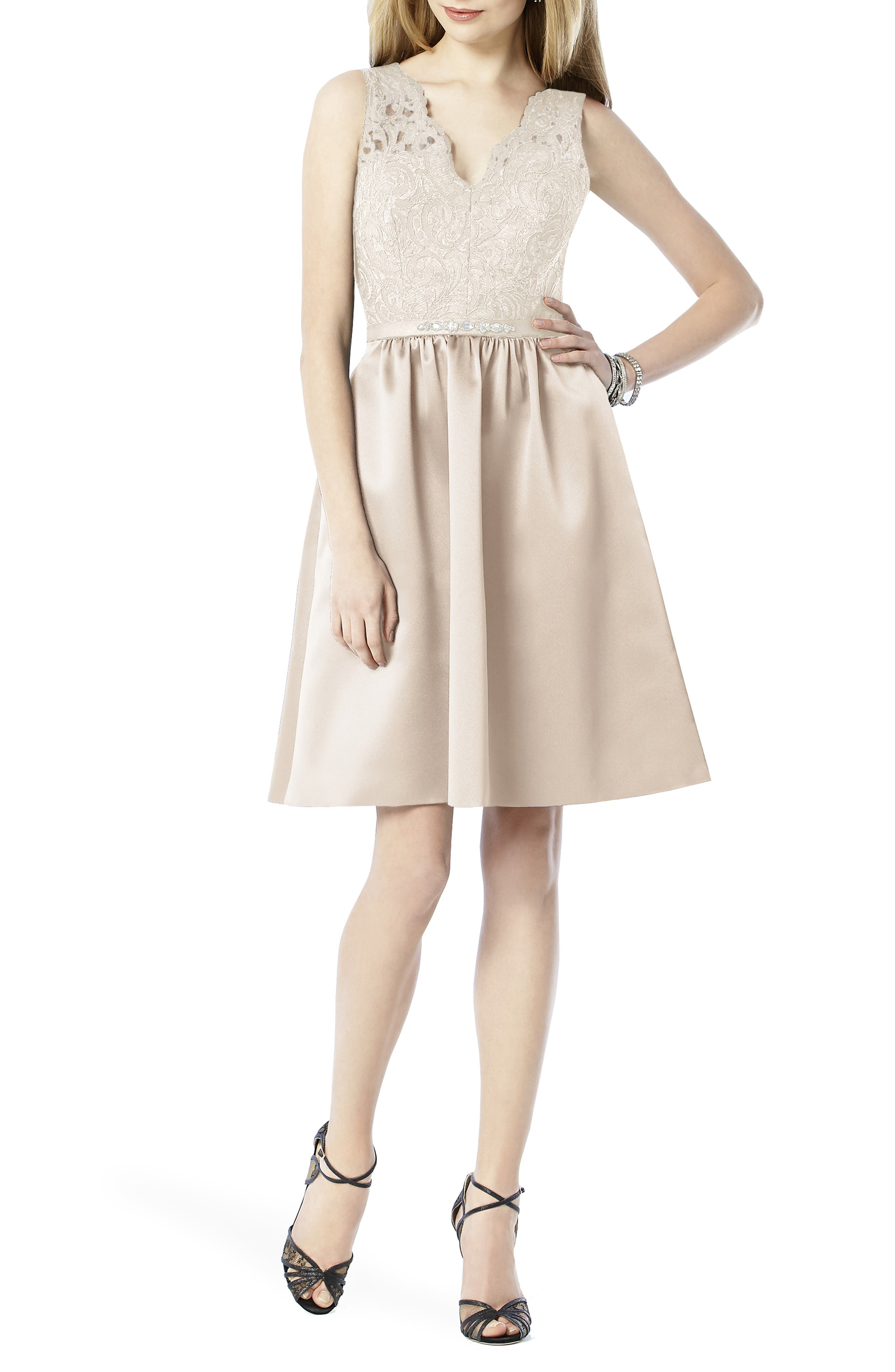 Embellished Lace with Satin Fit & Flare Dress,                             Alternate thumbnail 6, color,                             101