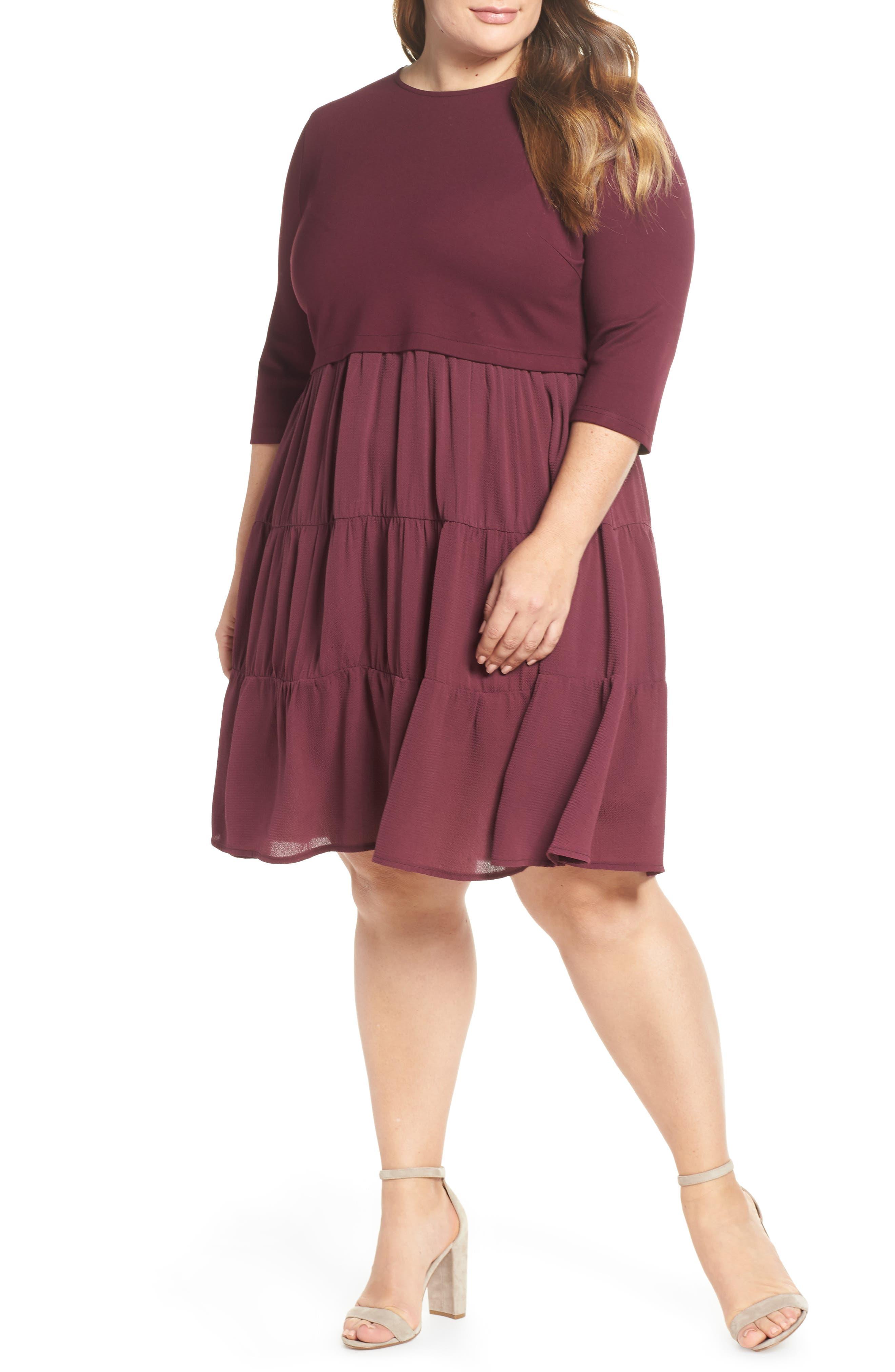 Mixed Media Ruffle Detail Swing Dress,                             Main thumbnail 1, color,                             BURGUNDY