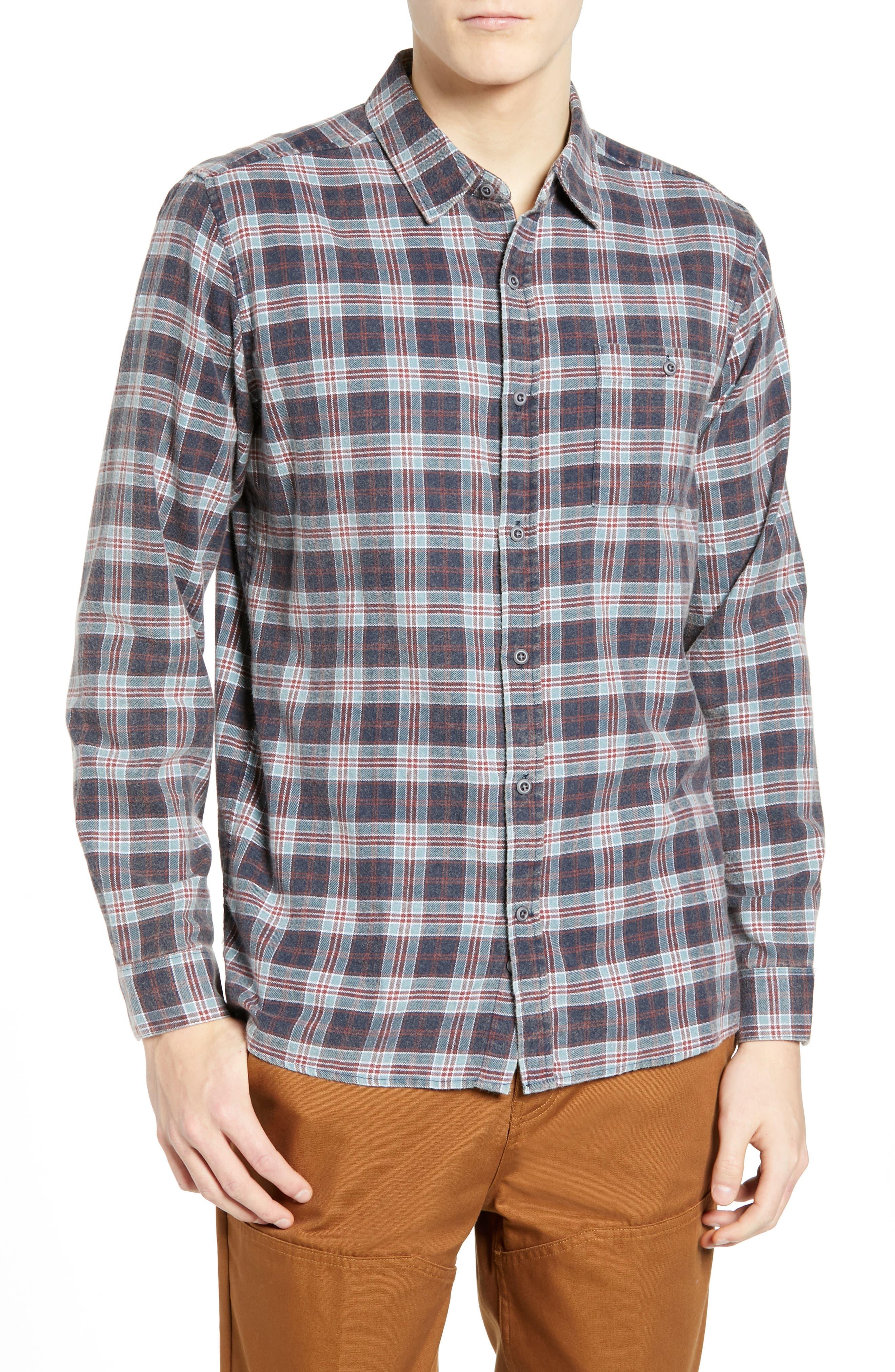 Hurley Ranger Plaid Cotton Flannel Sport Shirt, Blue
