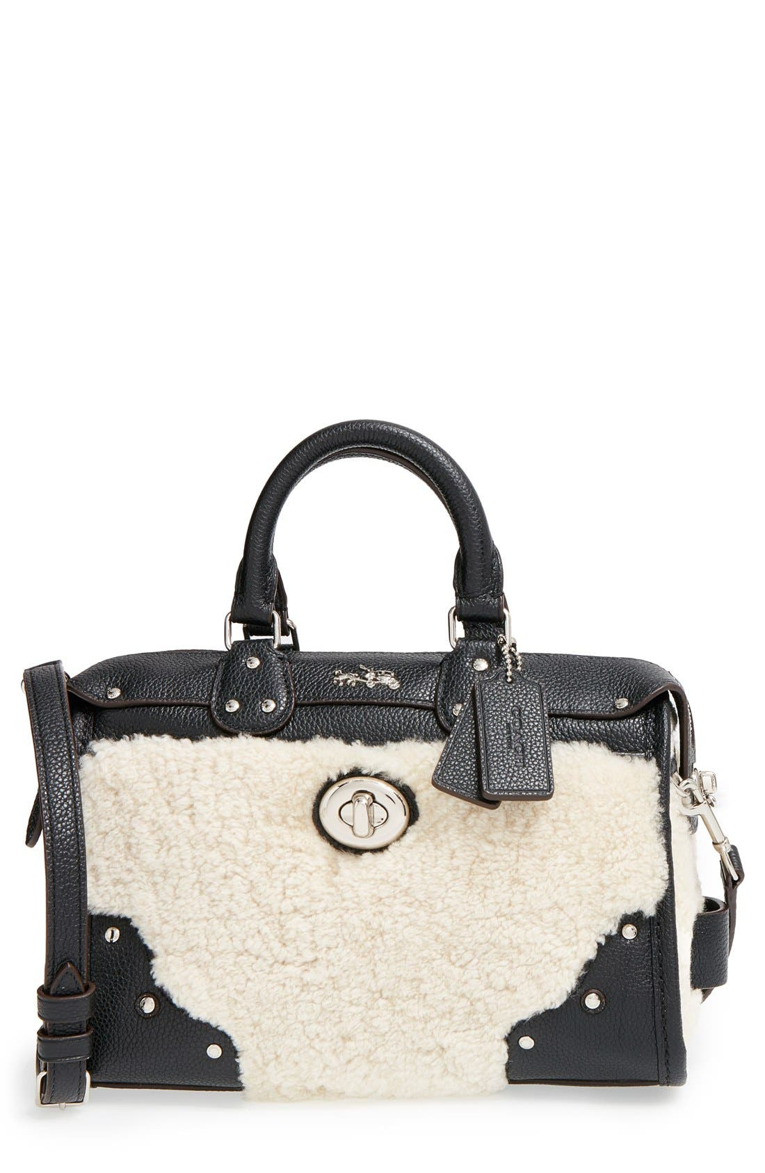 COACH 'Rhyder 24' Genuine Shearling & Leather Satchel, Main, color, 900
