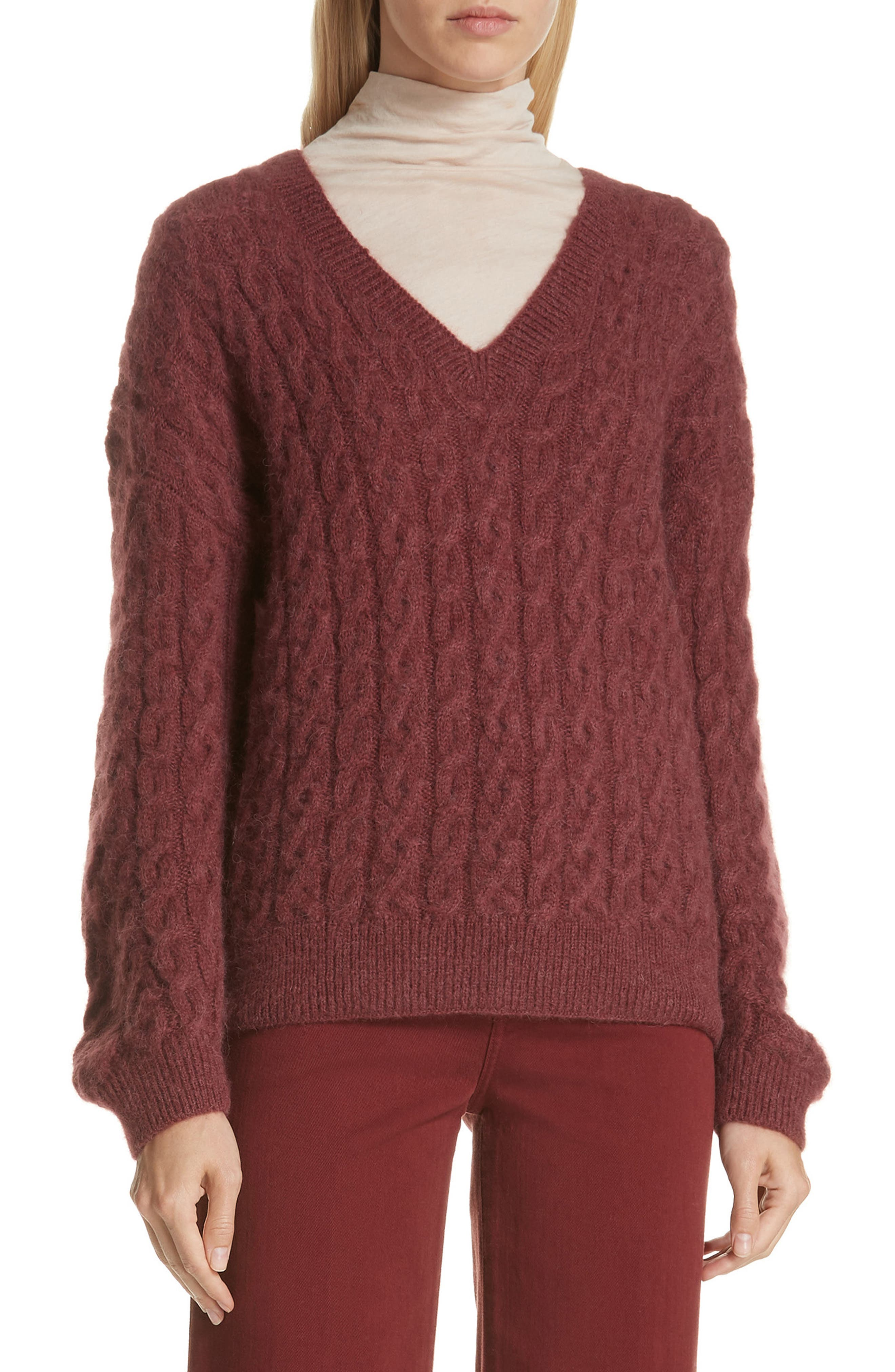 Cable Knit Sweater,                         Main,                         color, ANISE