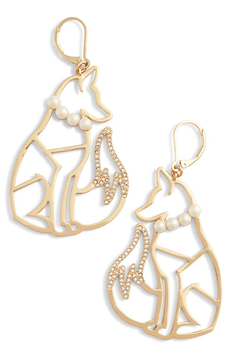 kate spade new york so foxy fox wire drop earrings | Nordstrom
