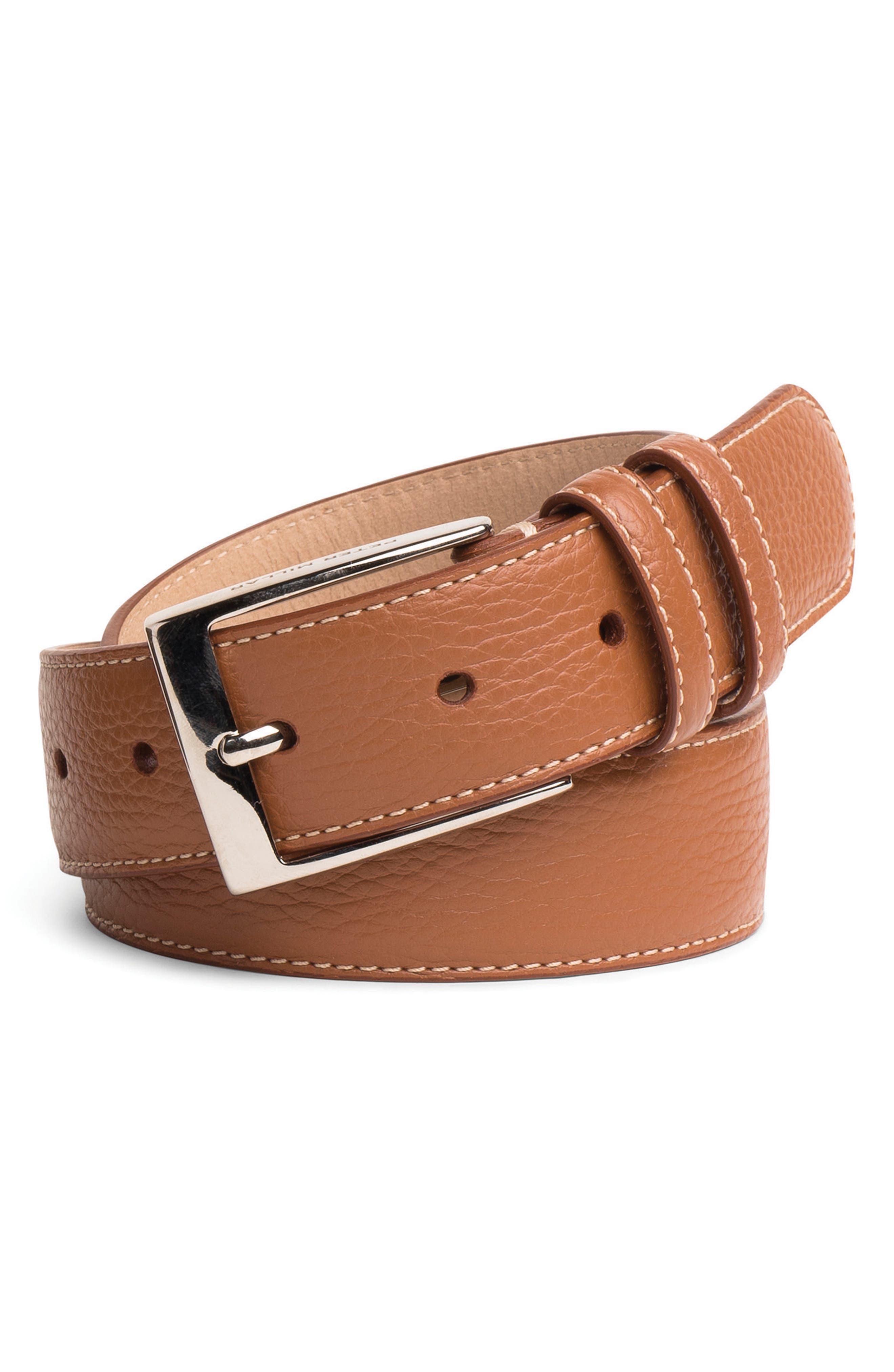 Pebbled Leather Belt,                             Main thumbnail 3, color,