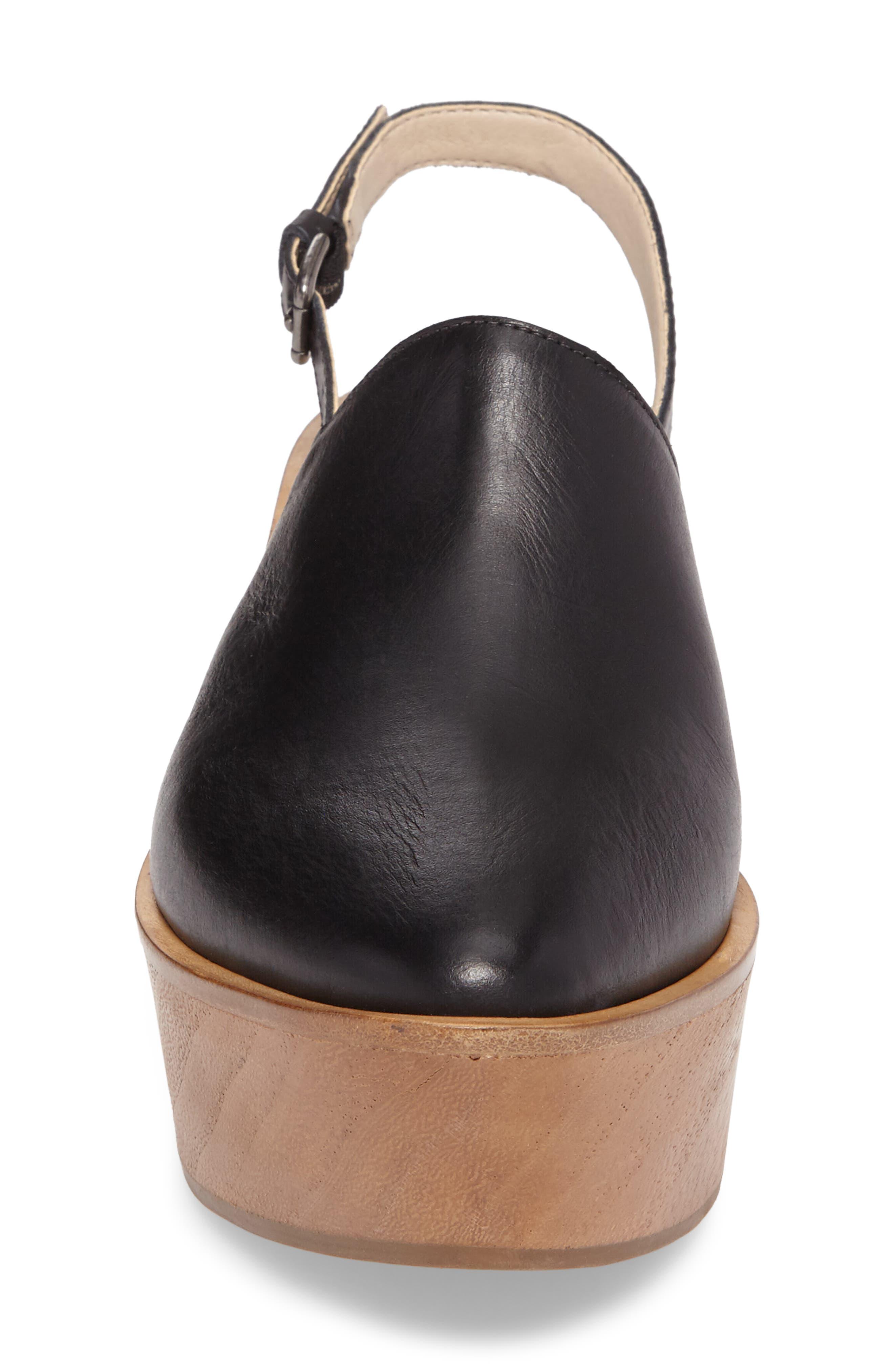 Eyals Slingback Platform Wedge Sandal,                             Alternate thumbnail 4, color,                             BLACK LEATHER