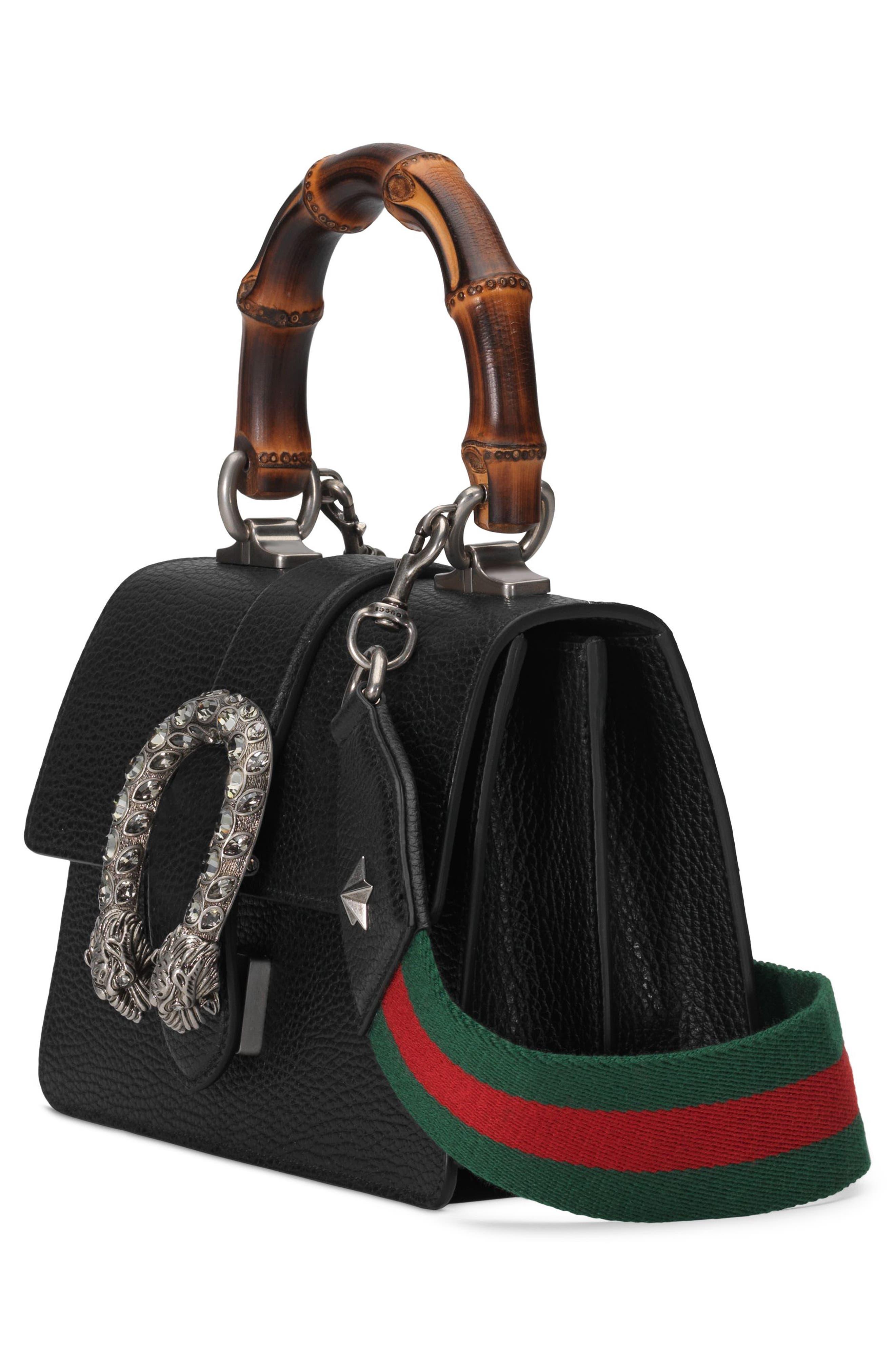 Mini Dionysus Leather Top Handle Satchel,                             Alternate thumbnail 4, color,                             NERO/ VERT RED/ BLACK DIAMOND