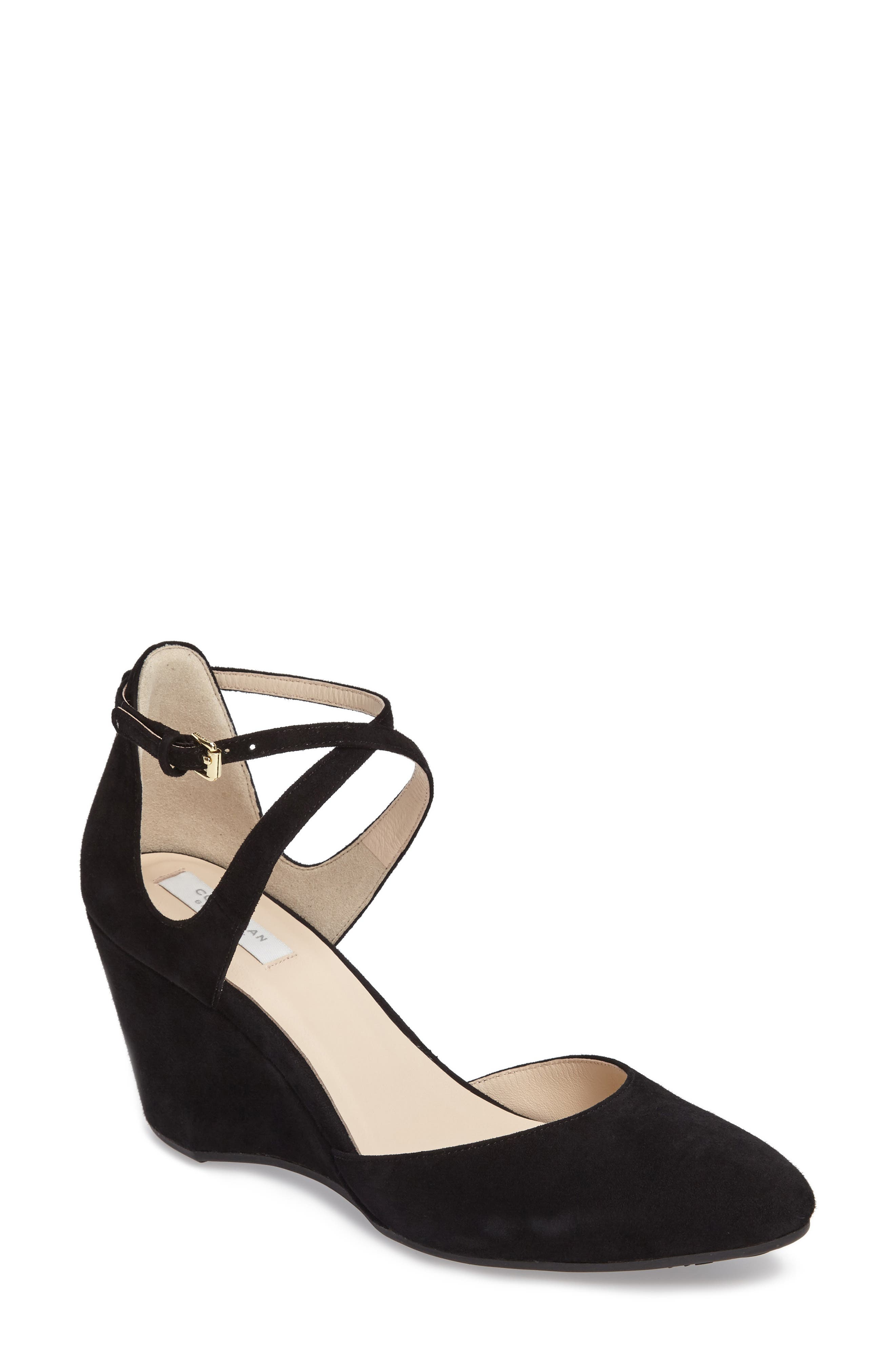 Lacey Ankle Strap Wedge Pump,                             Main thumbnail 1, color,                             001