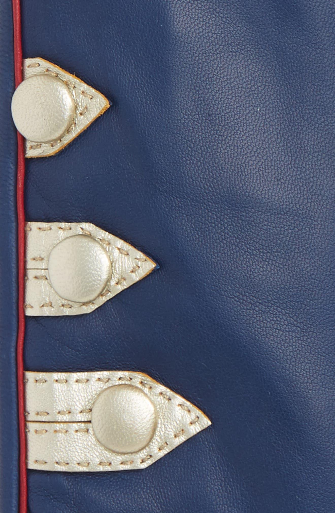 Metallic Stripe Lambskin Leather Gloves,                             Alternate thumbnail 2, color,                             400