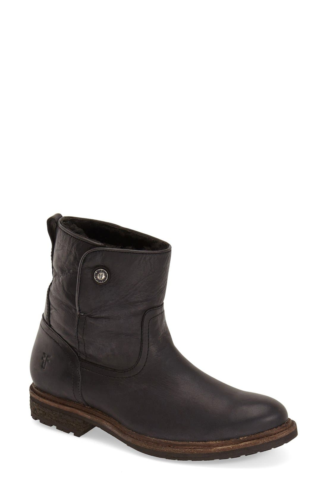 'Mara' Button Genuine Shearling Lined Short Boot, Main, color, 001