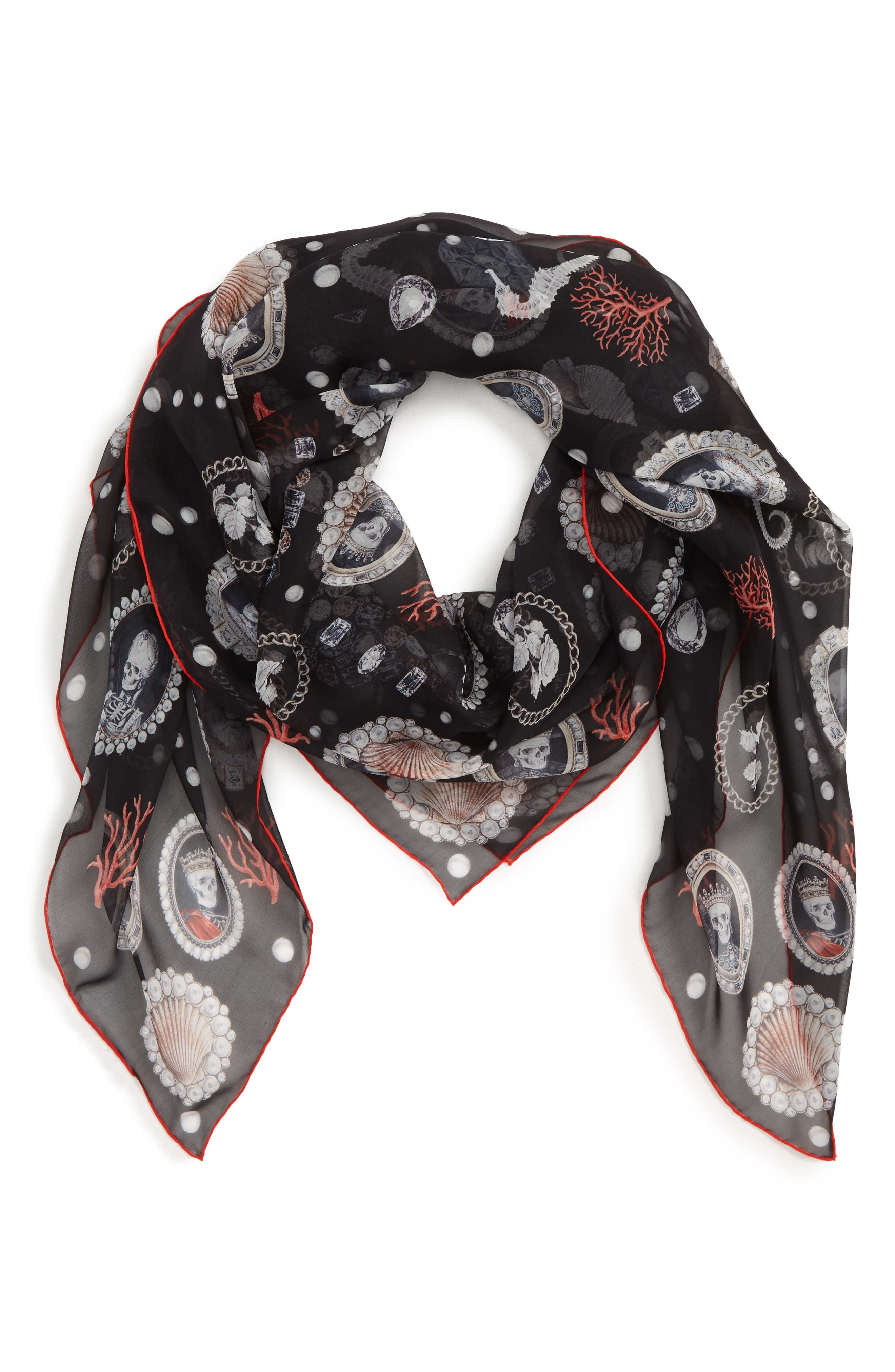 Sea Silk Scarf,                             Alternate thumbnail 2, color,                             BLACK/ RED