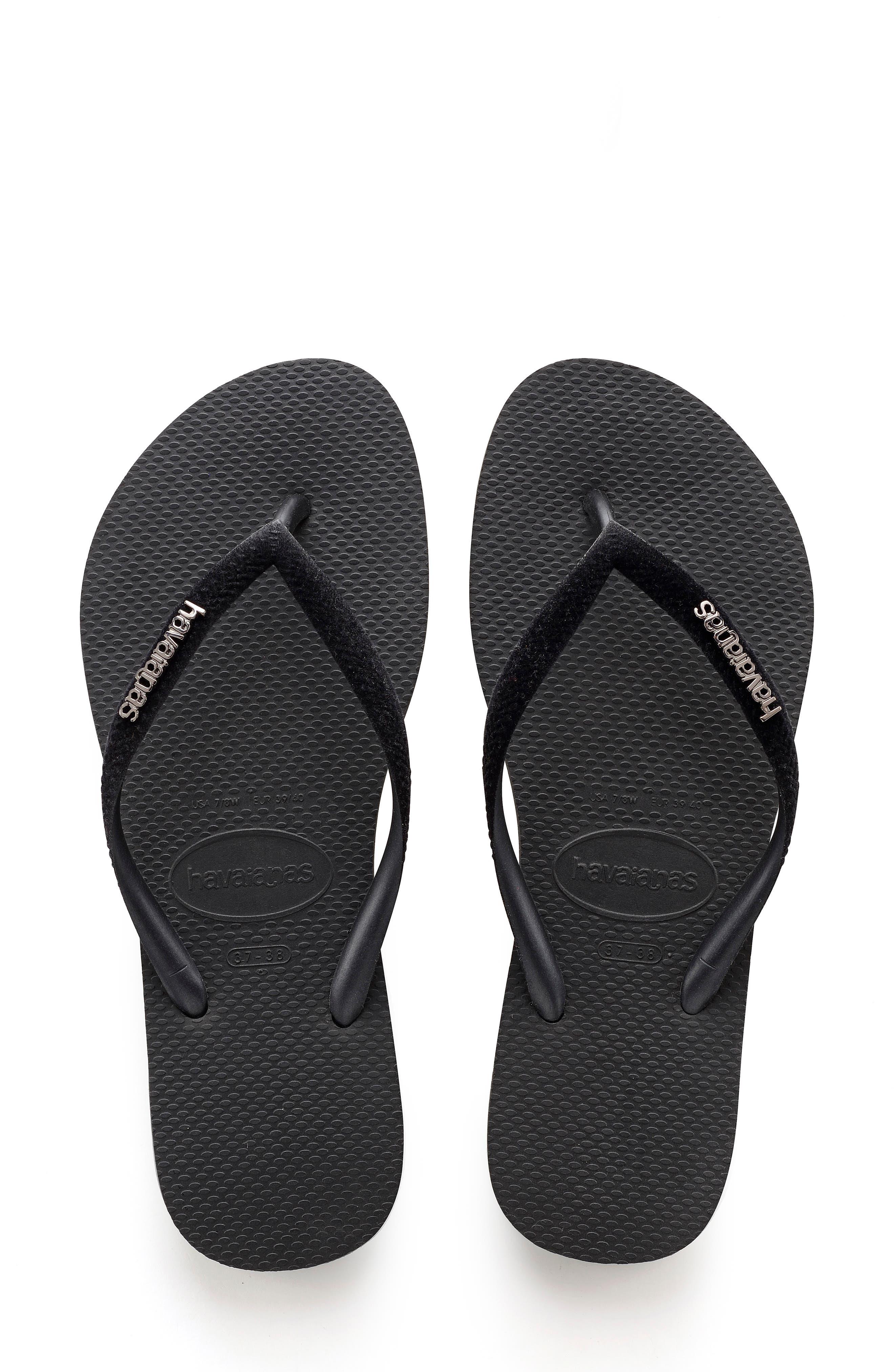 Slim Velvet Flip Flop,                         Main,                         color, BLACK