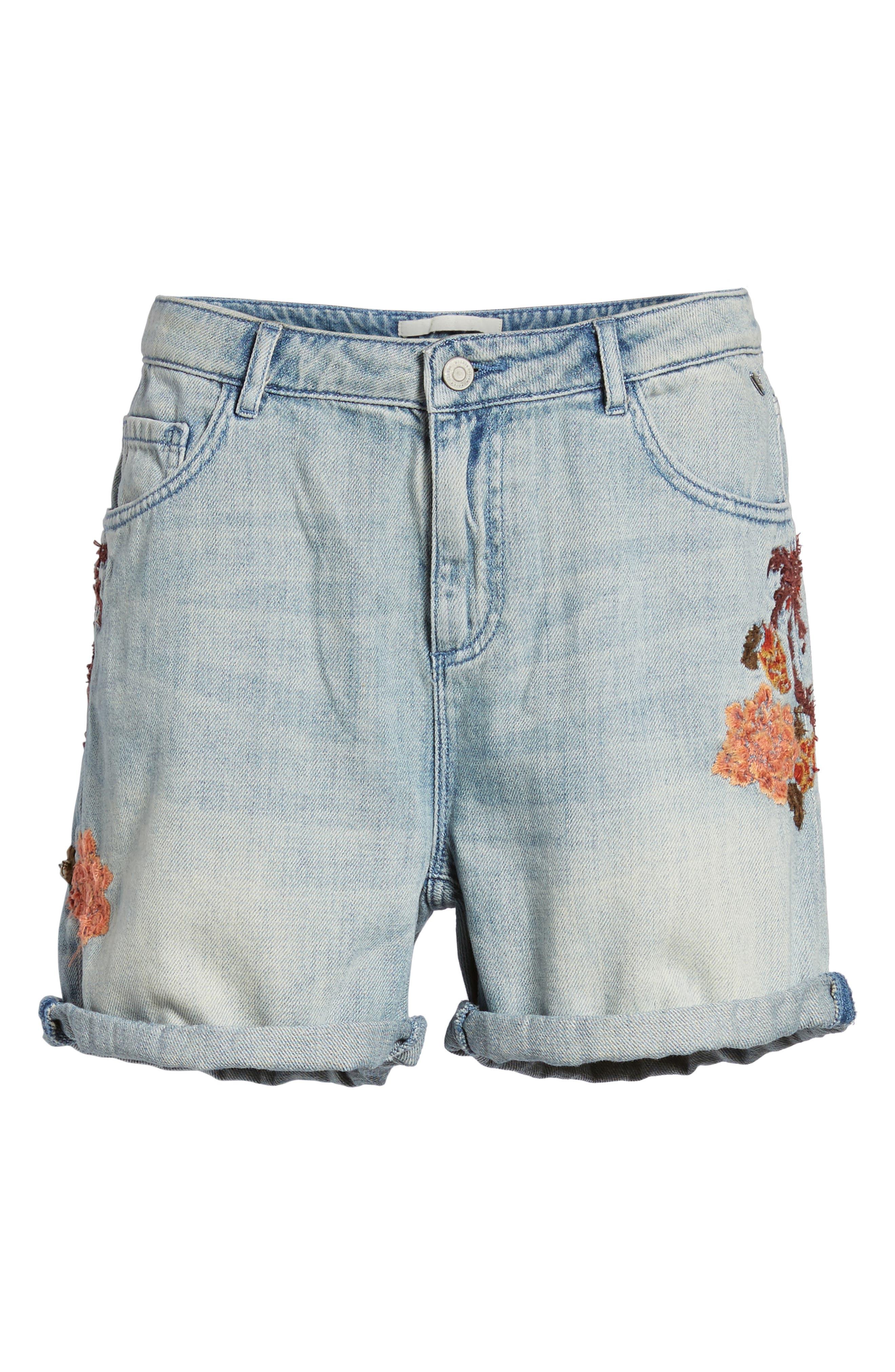 Embroidered Boyfriend Denim Shorts,                             Alternate thumbnail 6, color,                             420