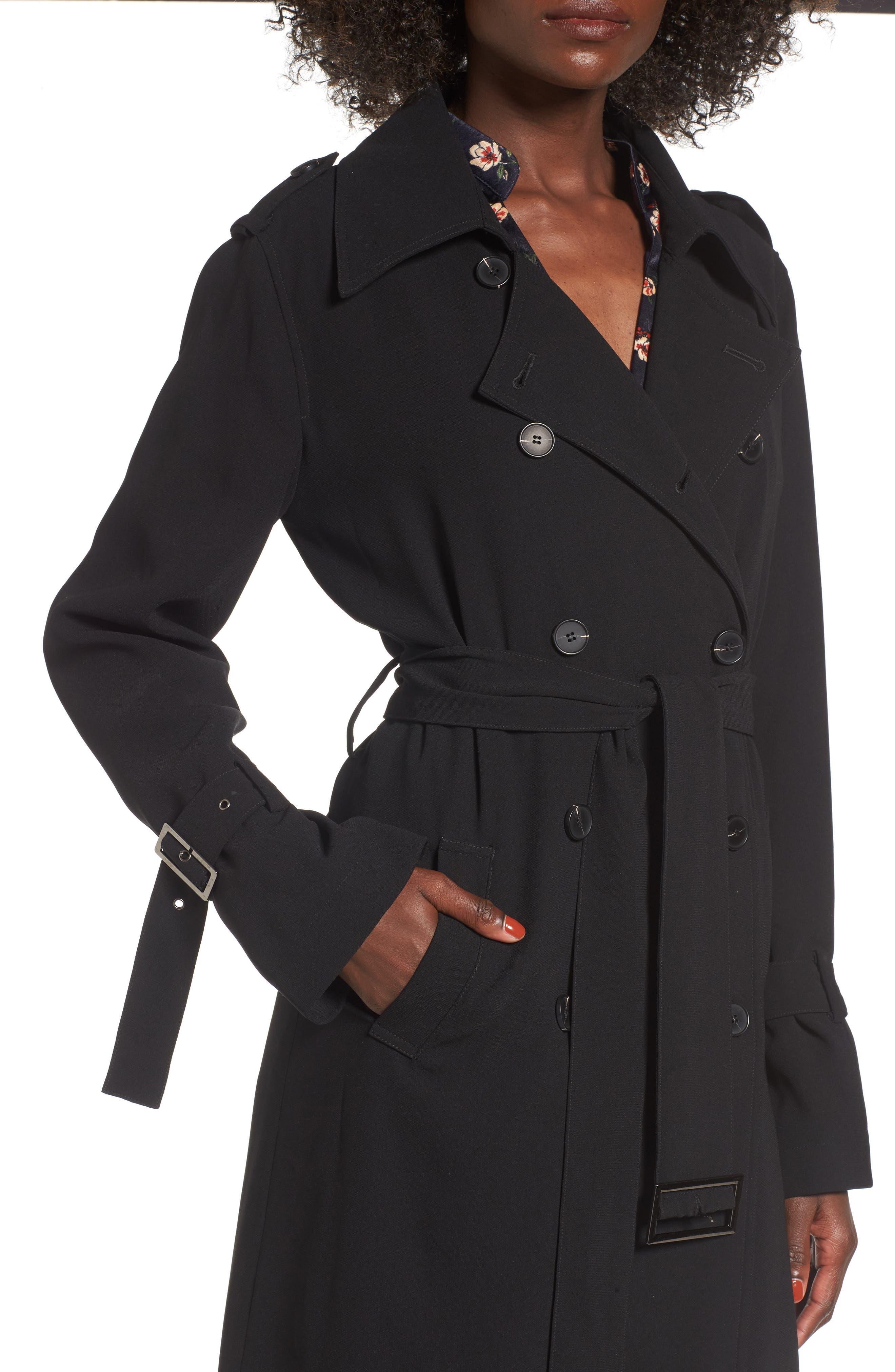 Long Trench Coat,                             Alternate thumbnail 4, color,                             001