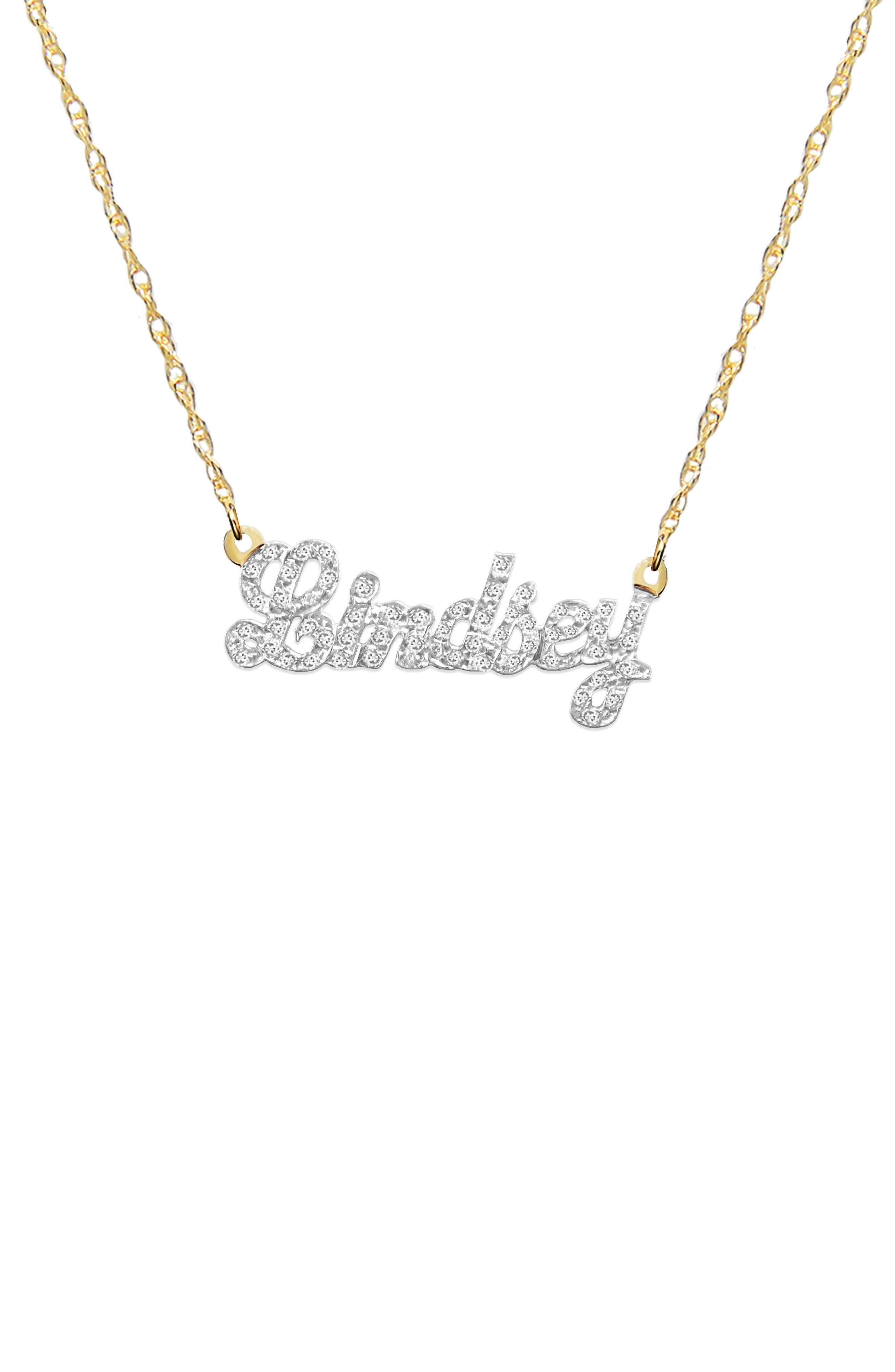 Jane Basch Personalized Nameplate Diamond Pendant Necklace,                             Main thumbnail 1, color,                             14K YELLOW GOLD