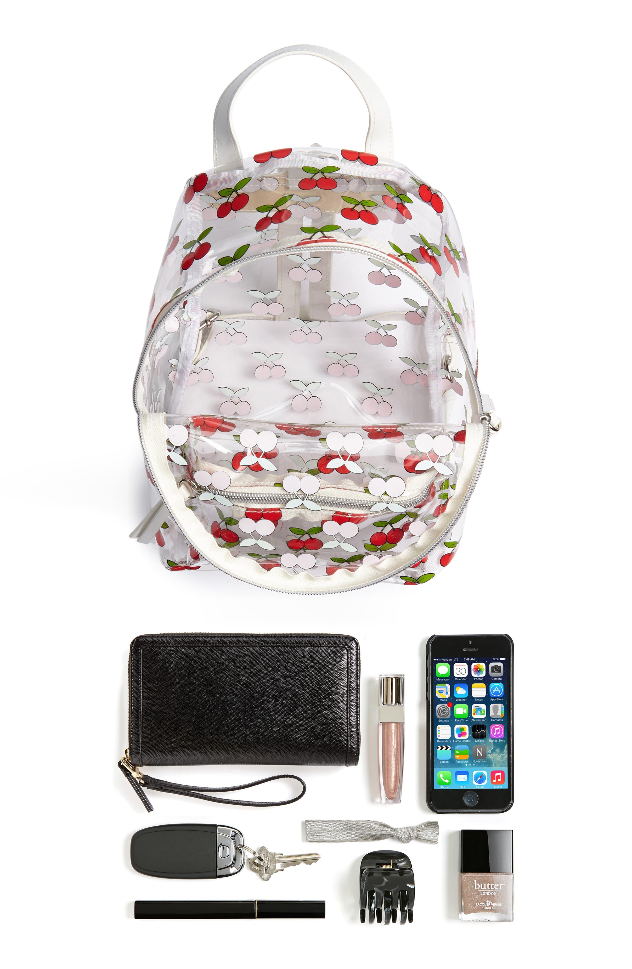Transparent Cherry Print Mini Convertible Backpack,                             Alternate thumbnail 7, color,                             600