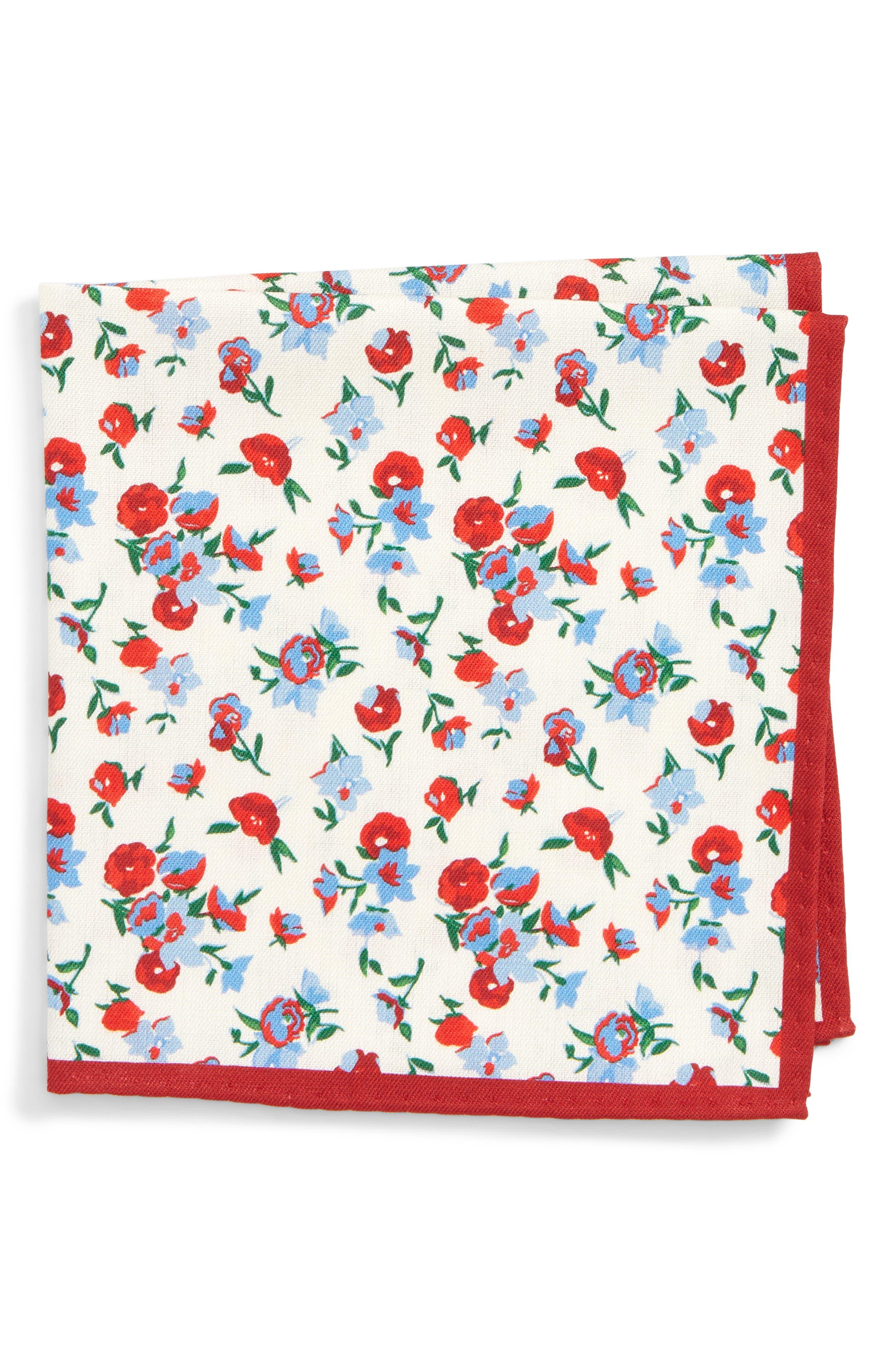 Floral Silk Pocket Square,                         Main,                         color, RED