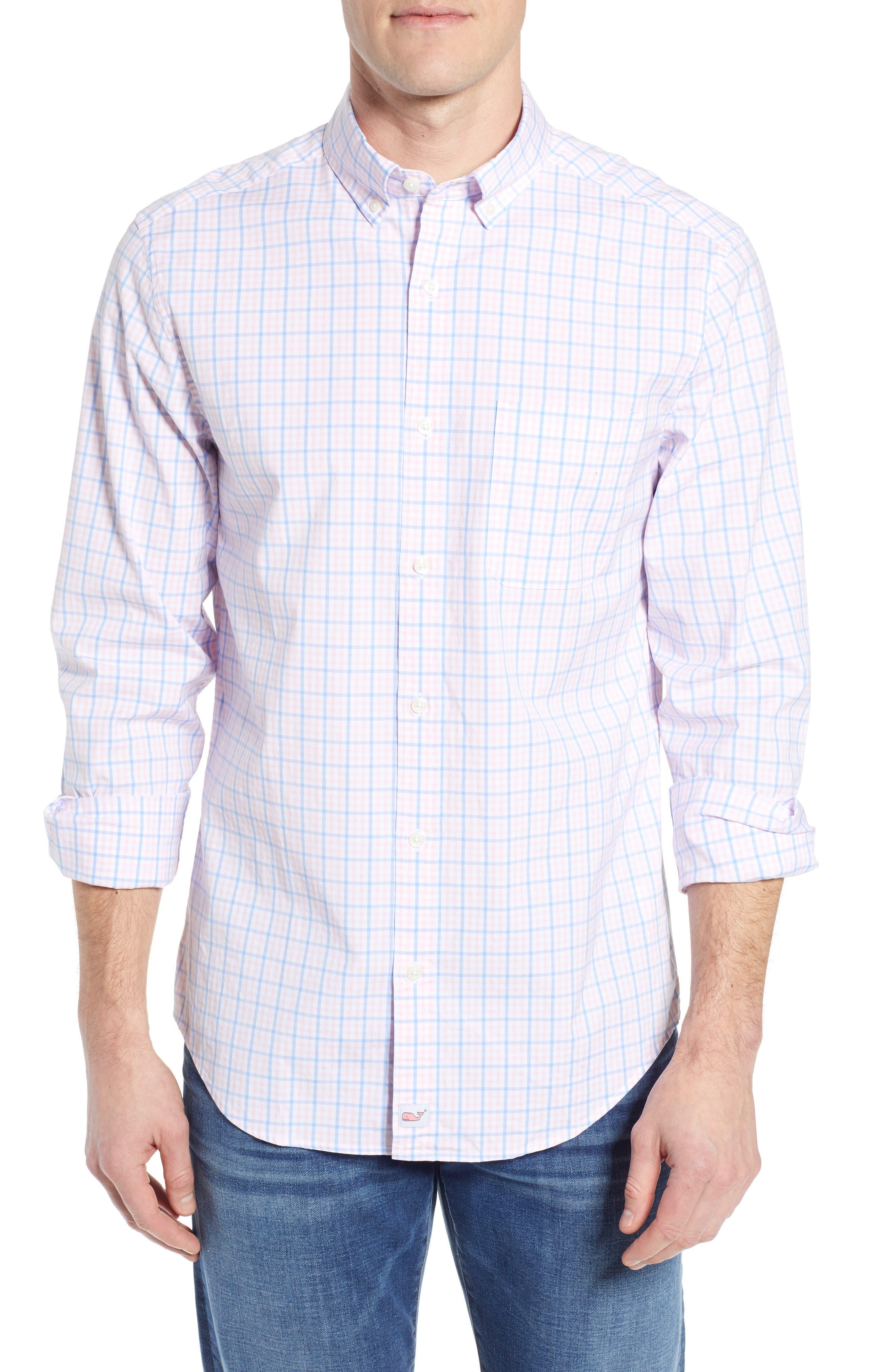 Murray Classic Fit Check Sport Shirt, Main, color, FLAMINGO