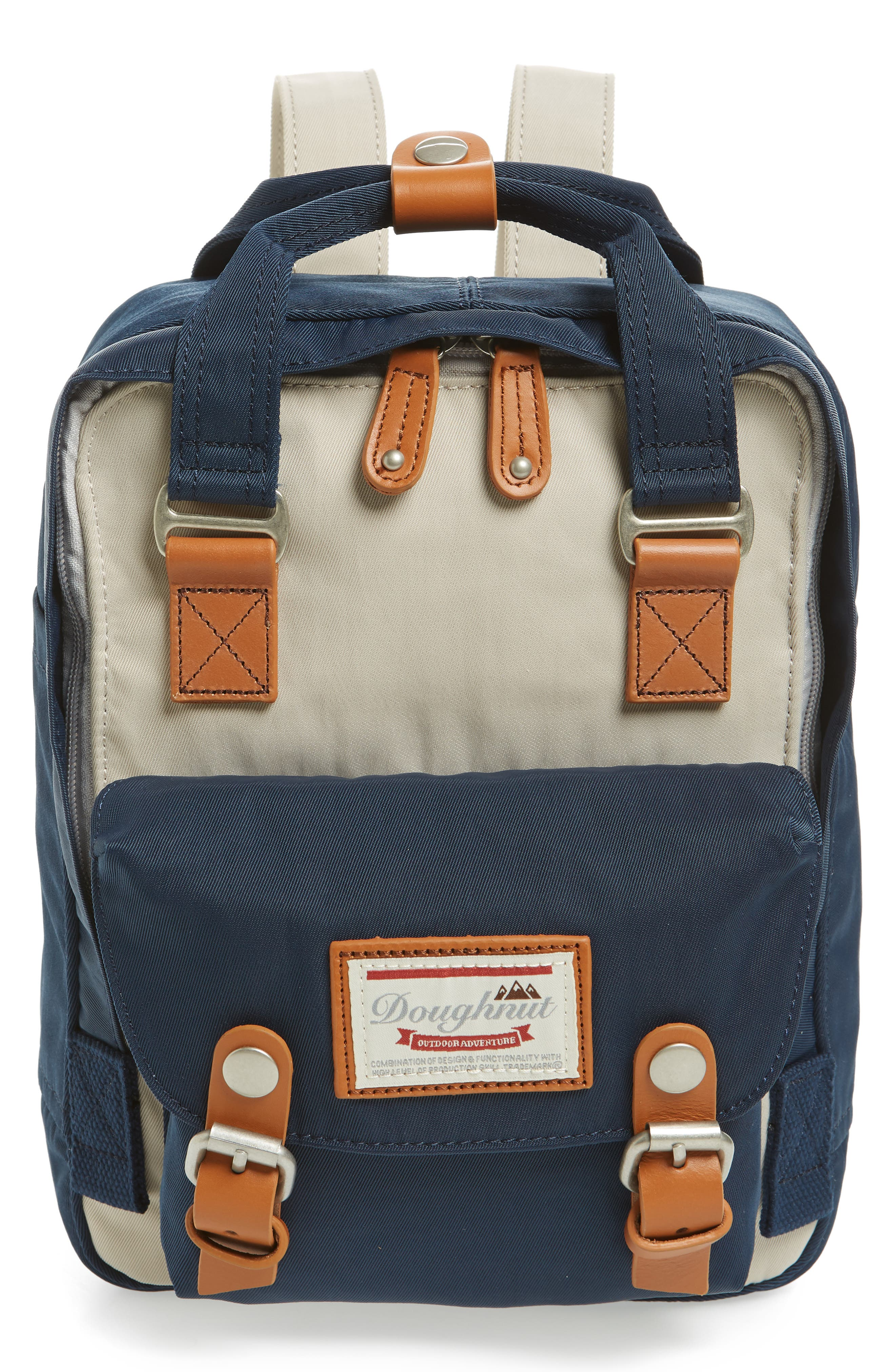 DOUGHNUT Mini Macaroon Colorblock Water Resistant Backpack - Ivory in Ivory/ Navy