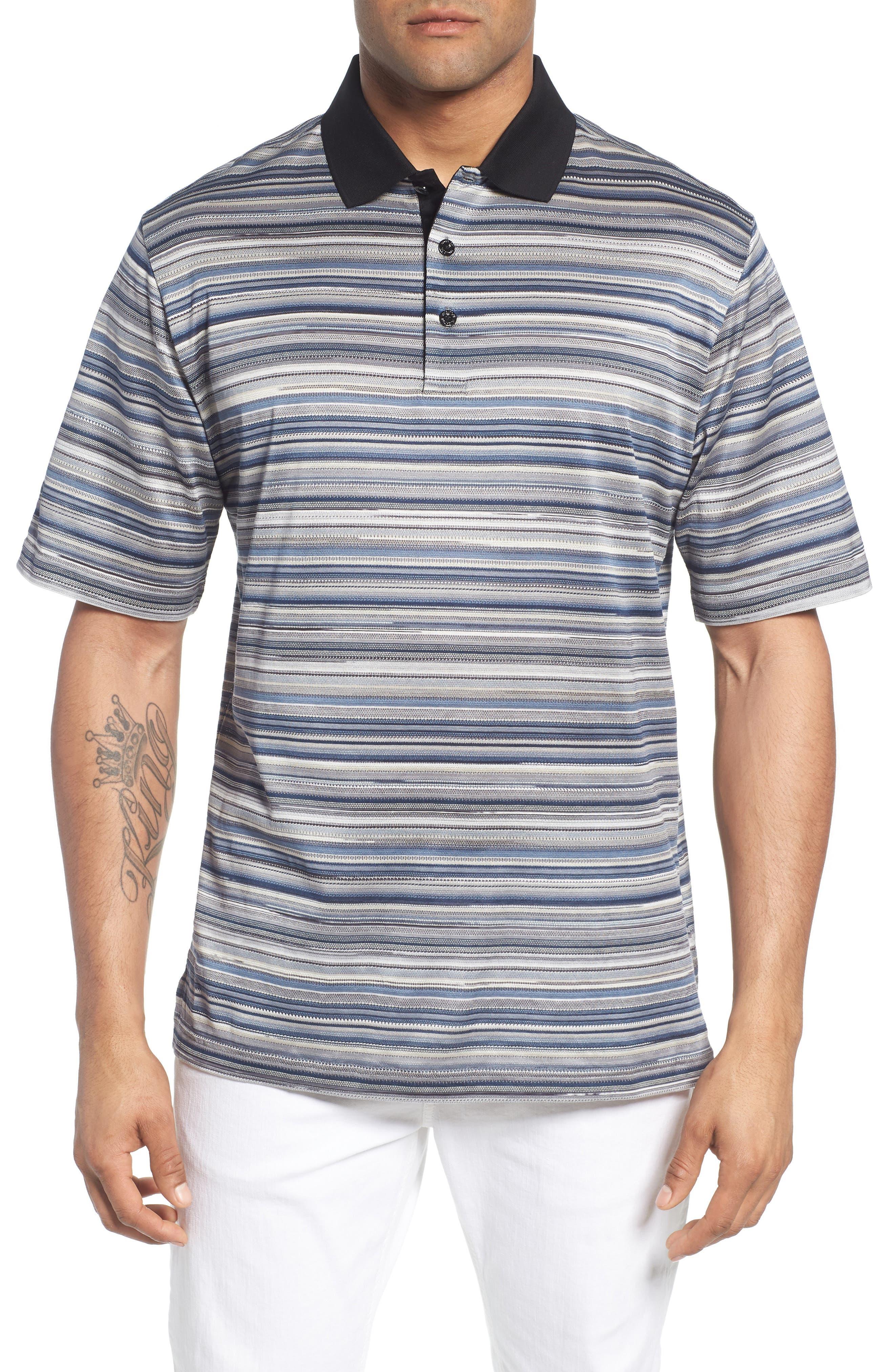 Stripe Mercerized Cotton Polo,                         Main,                         color,