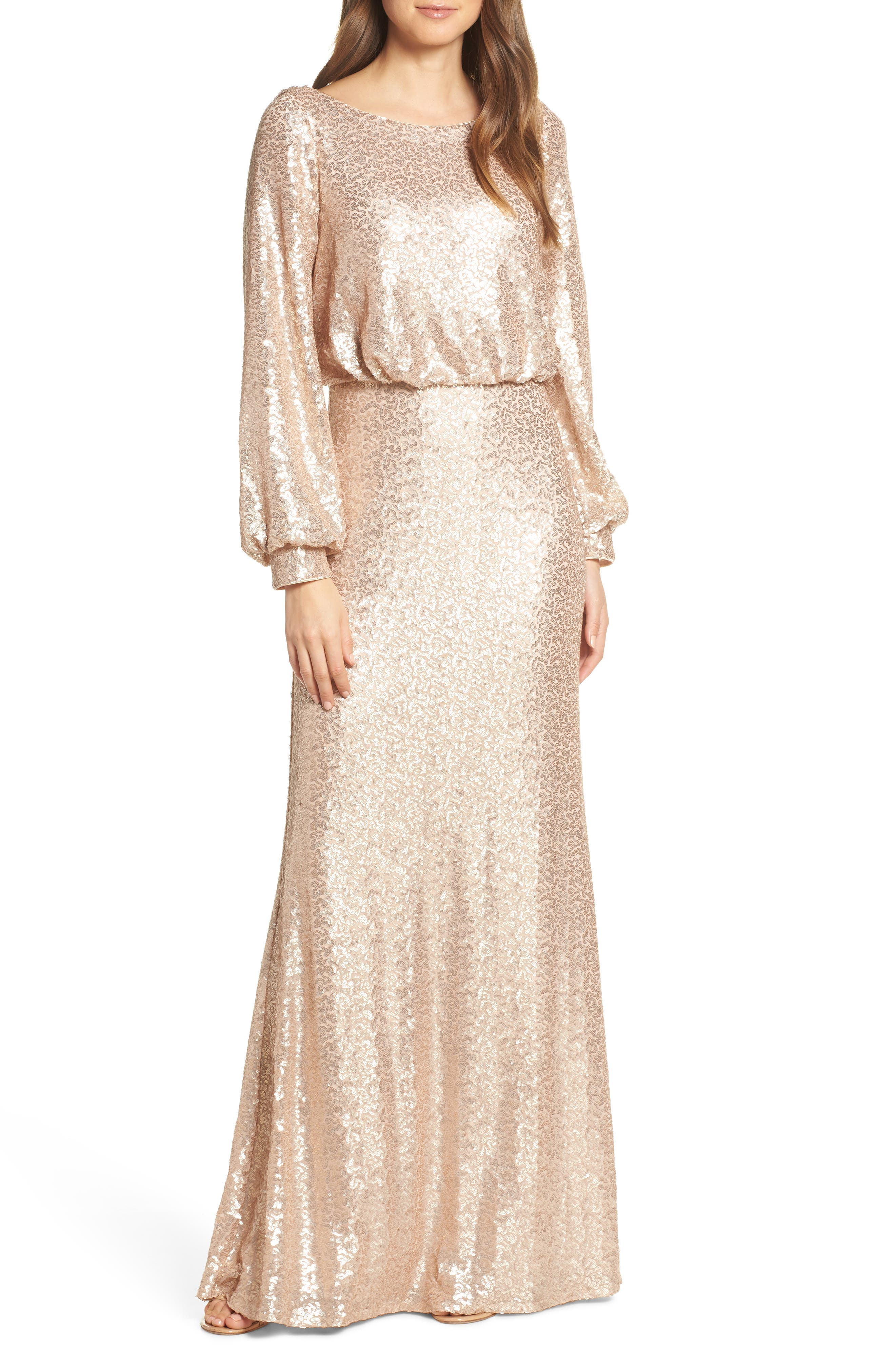 Tadashi Shoji Blouson Long Sleeve Sequin Evening Dress, Beige