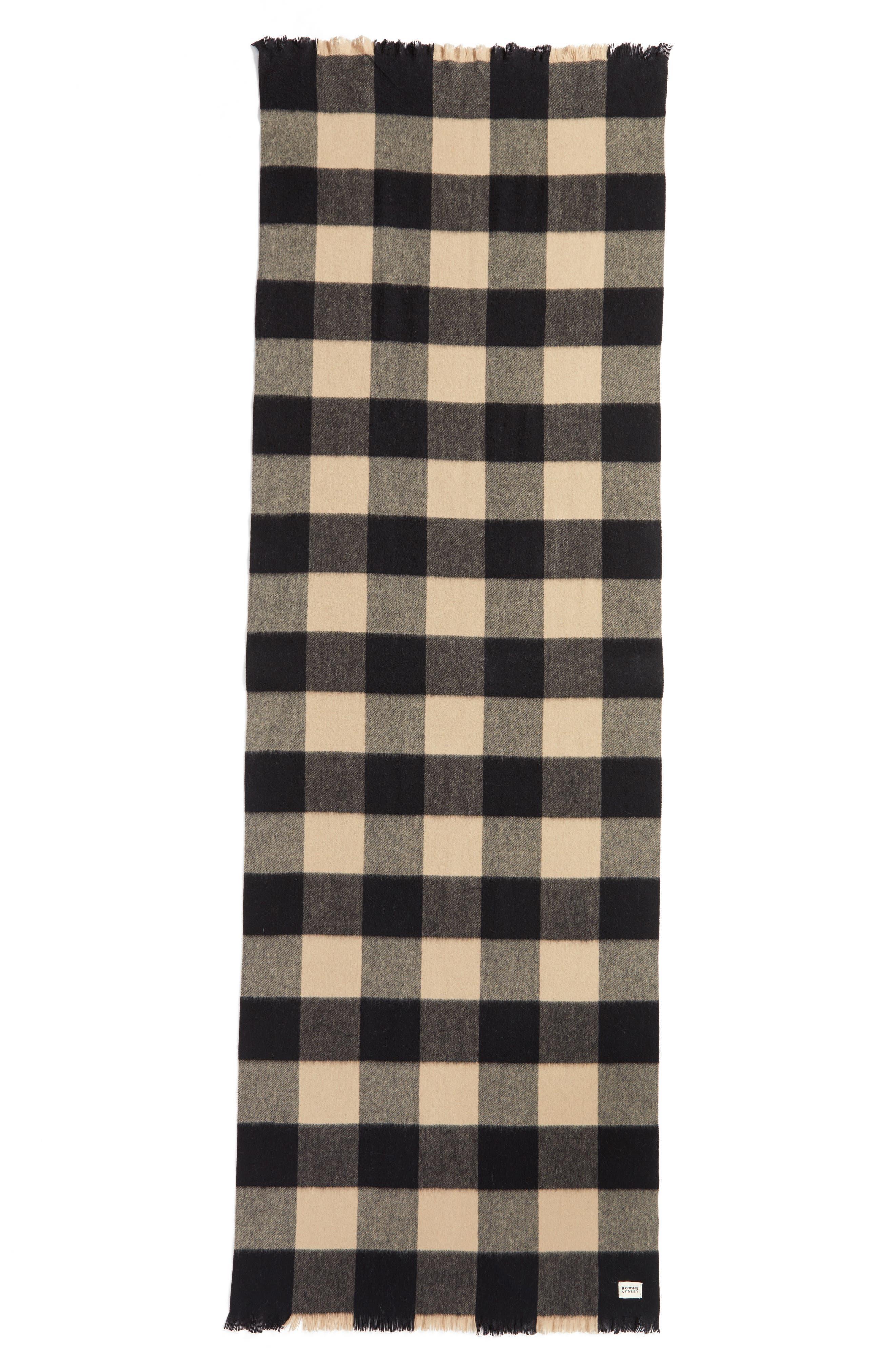 mega check wool scarf,                             Alternate thumbnail 5, color,