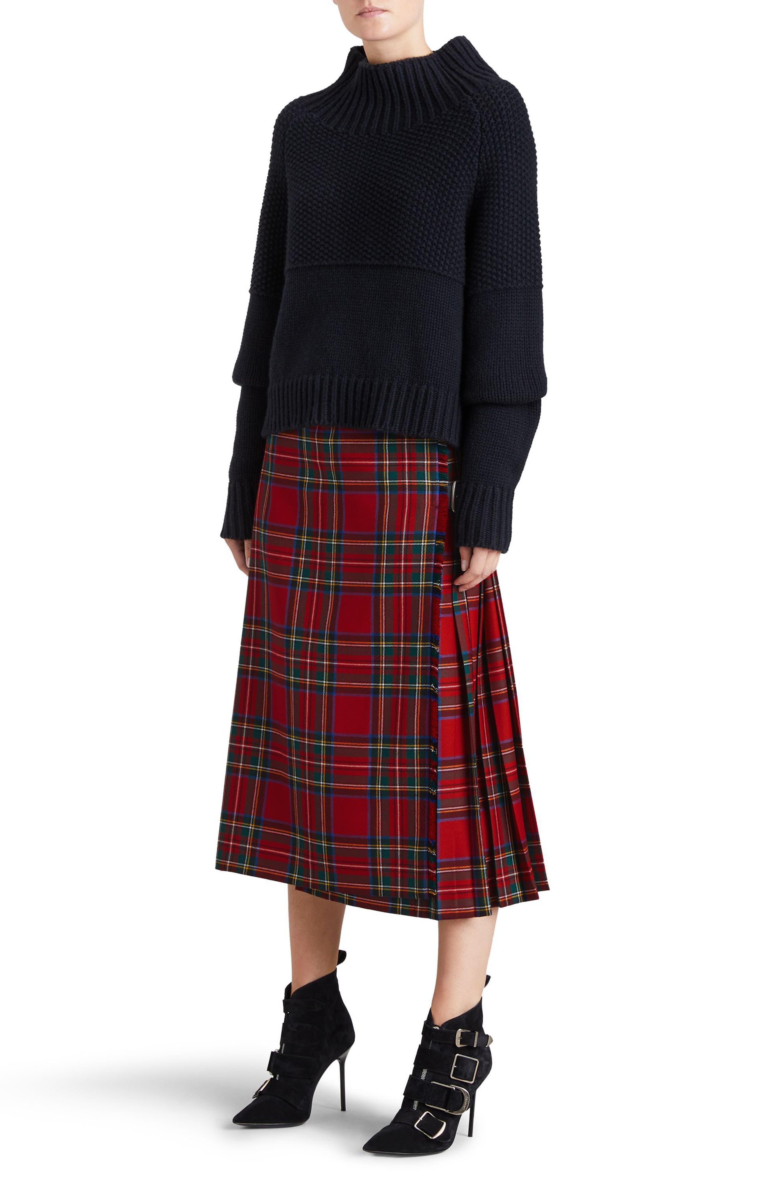 Taybridge Pleated Plaid Wool Midi Skirt,                             Alternate thumbnail 3, color,                             622