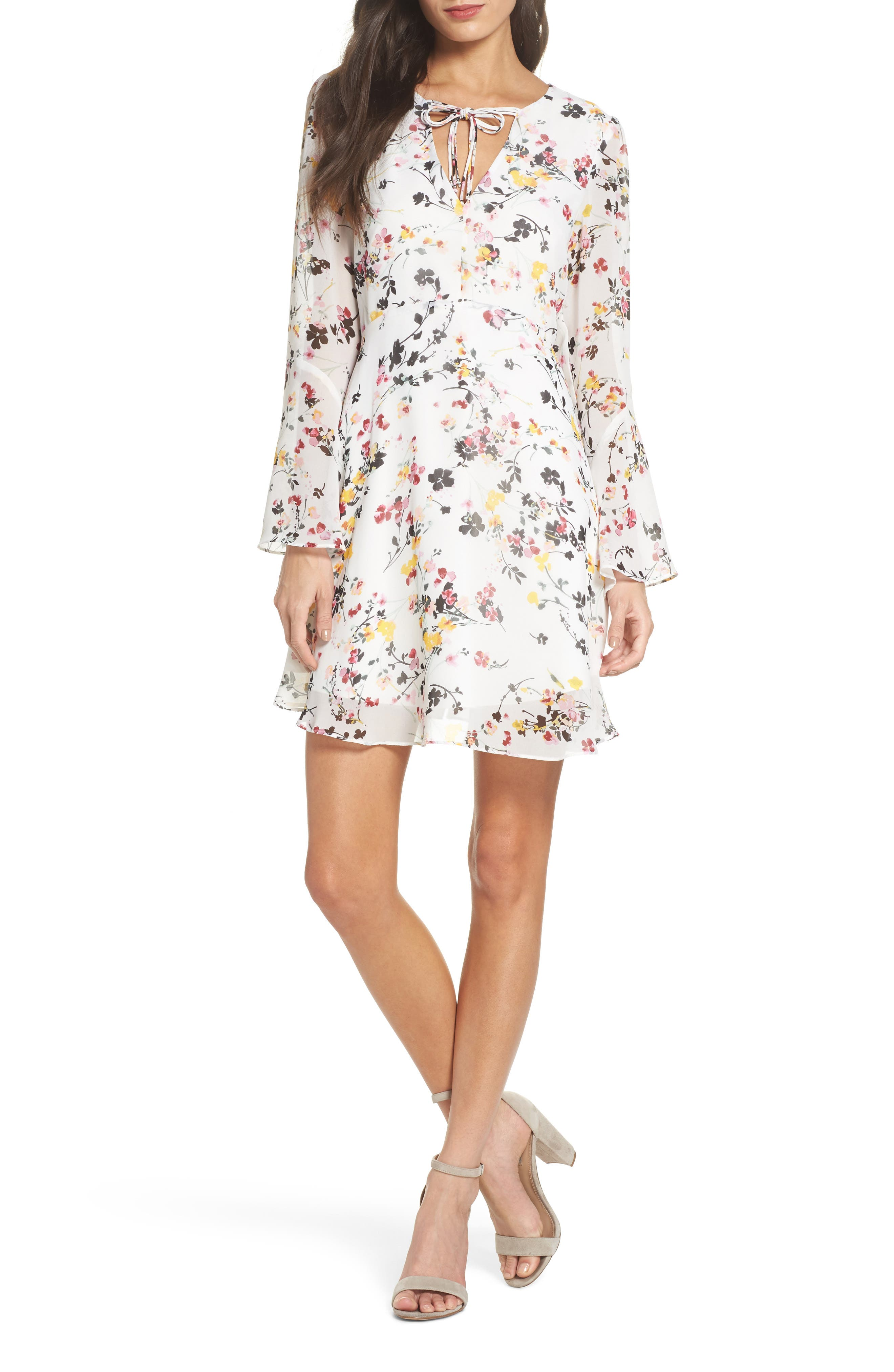 Bell Sleeve A-Line Dress,                             Main thumbnail 1, color,                             WHITE MULTI