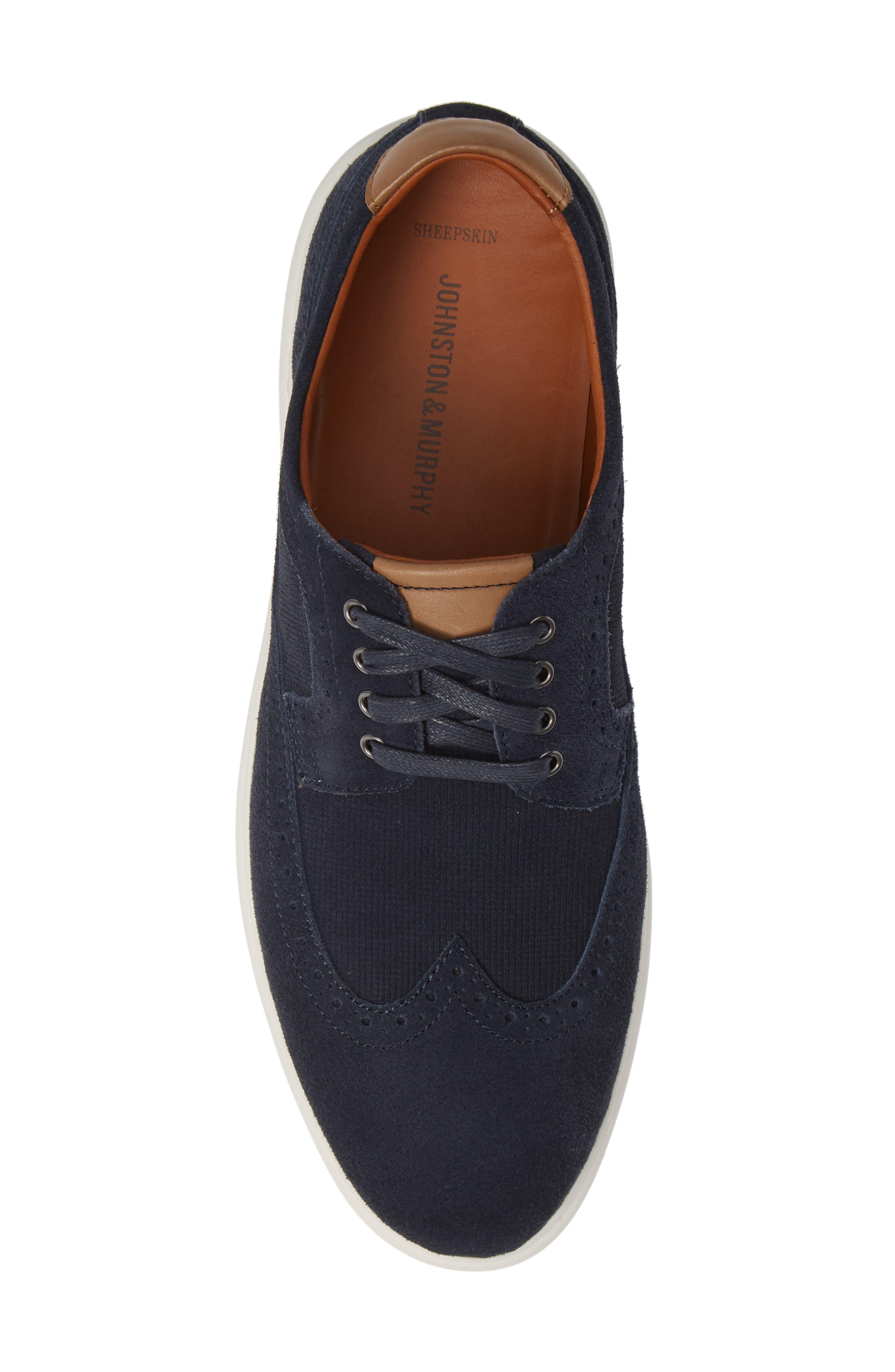 Elliston Wingtip Sneaker,                             Alternate thumbnail 5, color,                             NAVY SUEDE