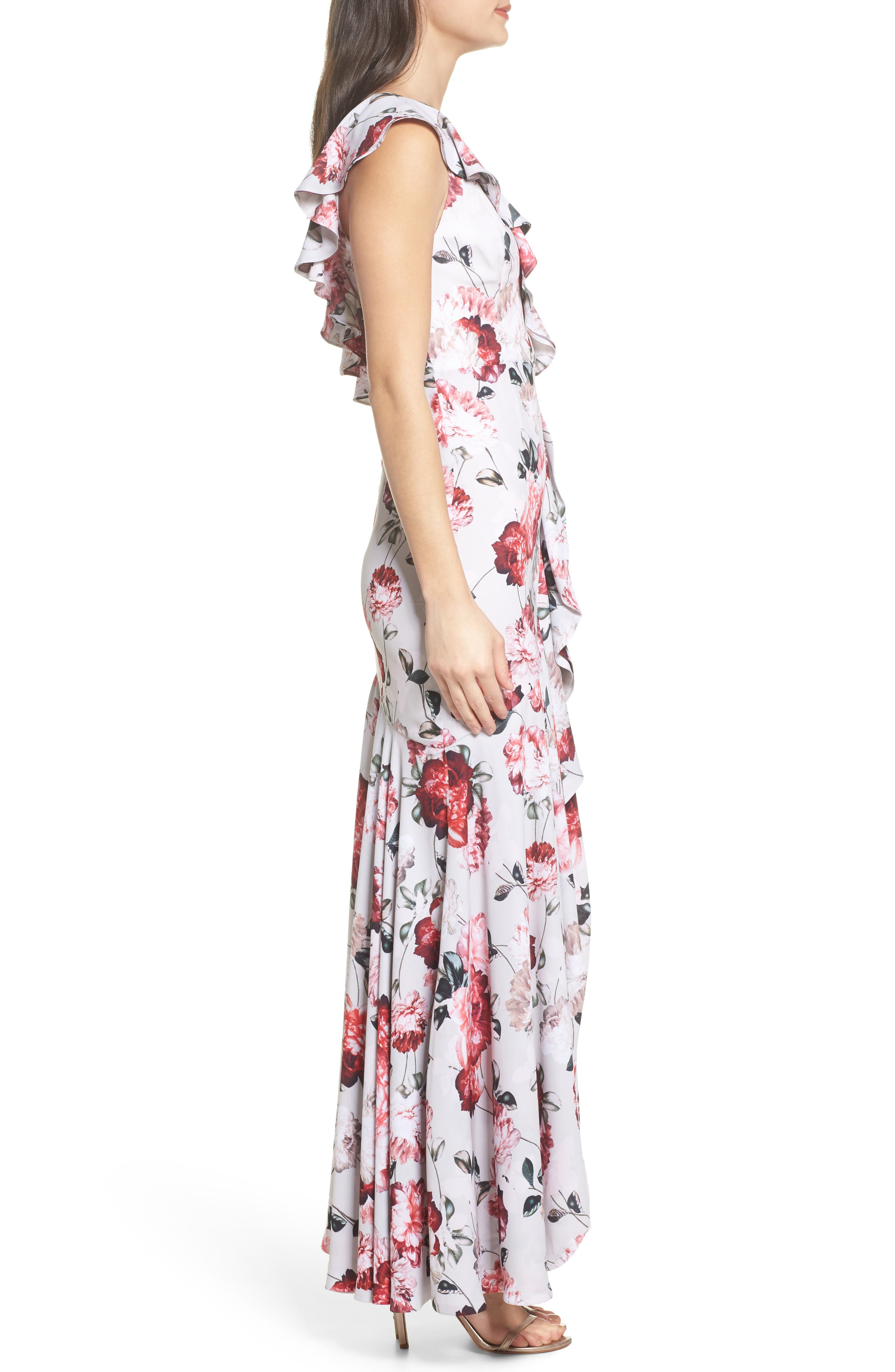 Beckman Floral Georgette Ruffle Maxi Dress,                             Alternate thumbnail 3, color,                             BLUSHING BLOOMS