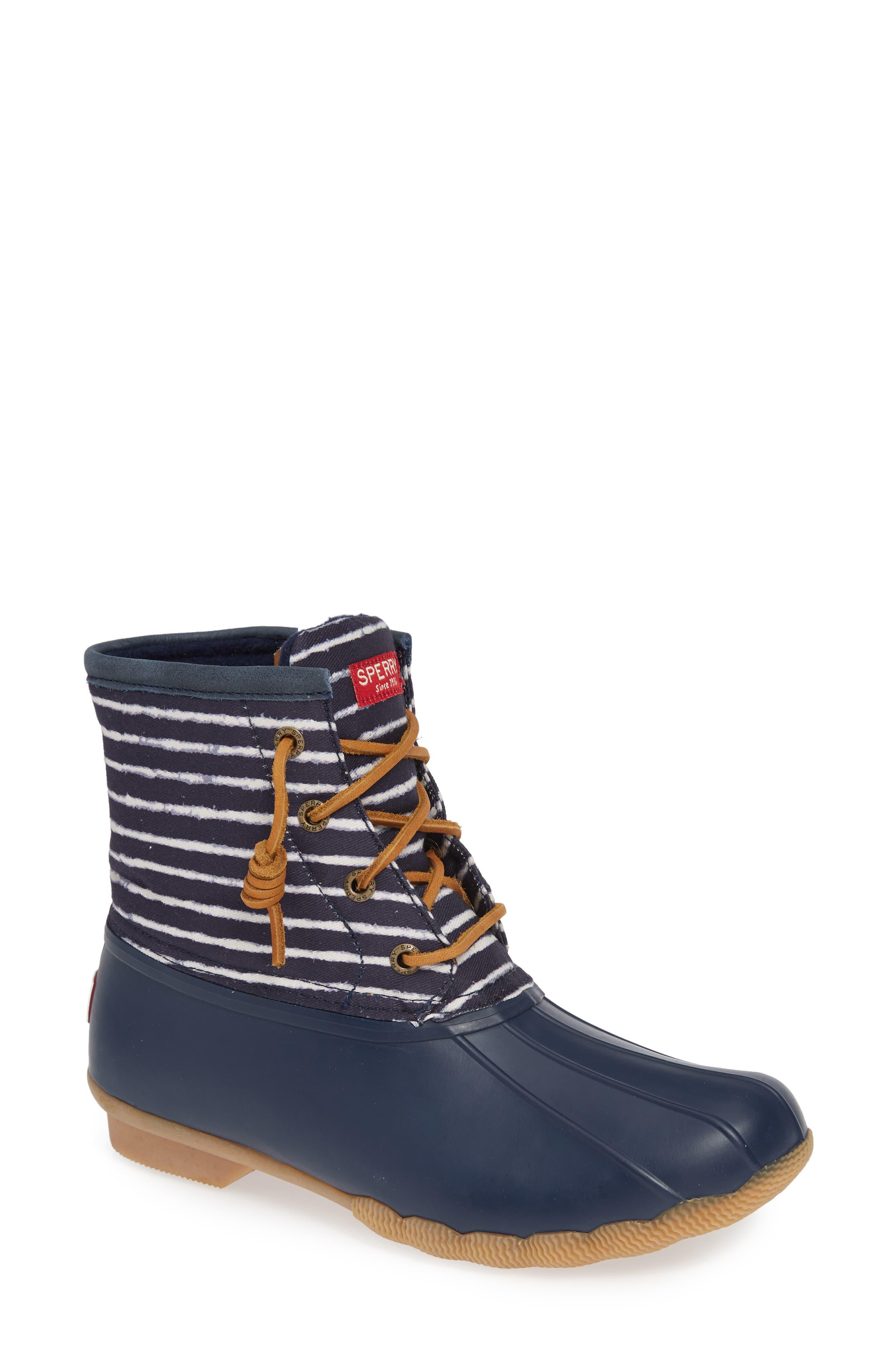 Saltwater Waterproof Rain Boot,                             Main thumbnail 1, color,                             NAVY FABRIC