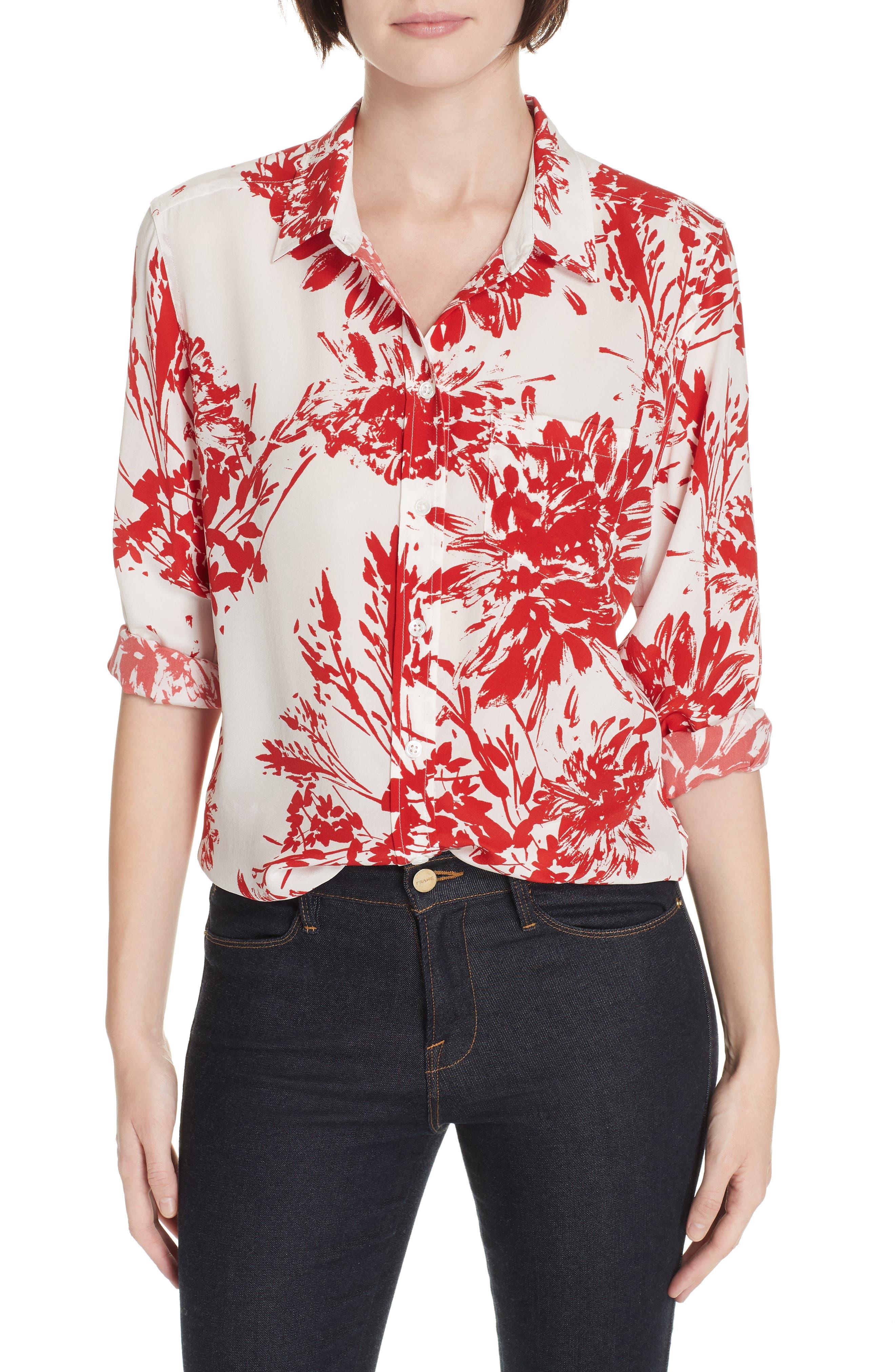 Brett Silk Blend Shirt, Main, color, NATURAL WHITE BLOOD MOON