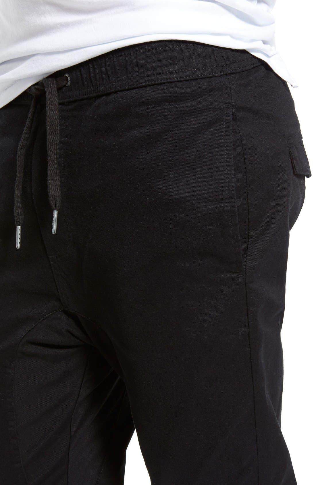 Salerno Stretch Woven Jogger Pants,                             Alternate thumbnail 4, color,                             BLACK