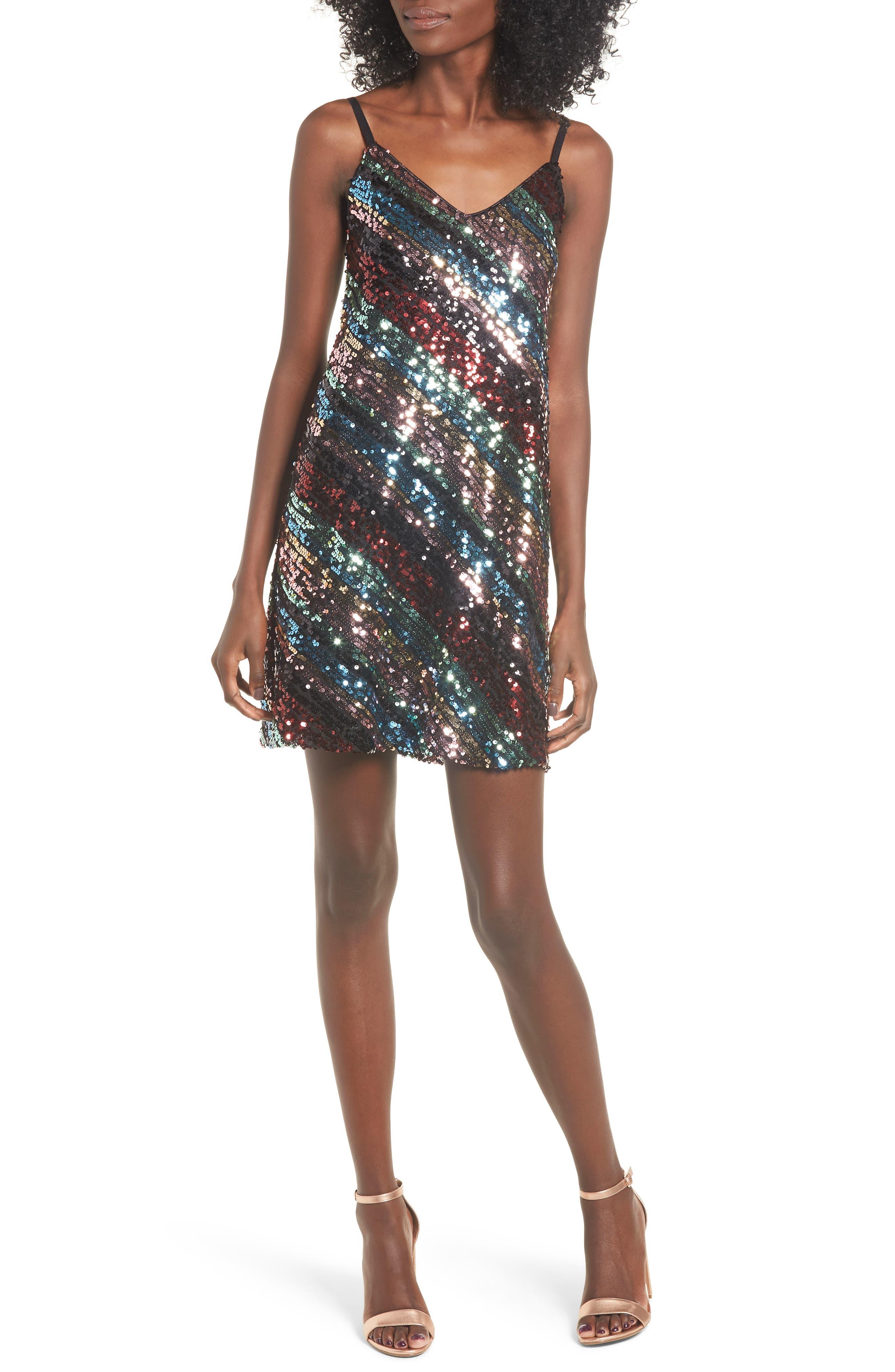 Leith V-Neck Sequin Stripe Minidress, Black