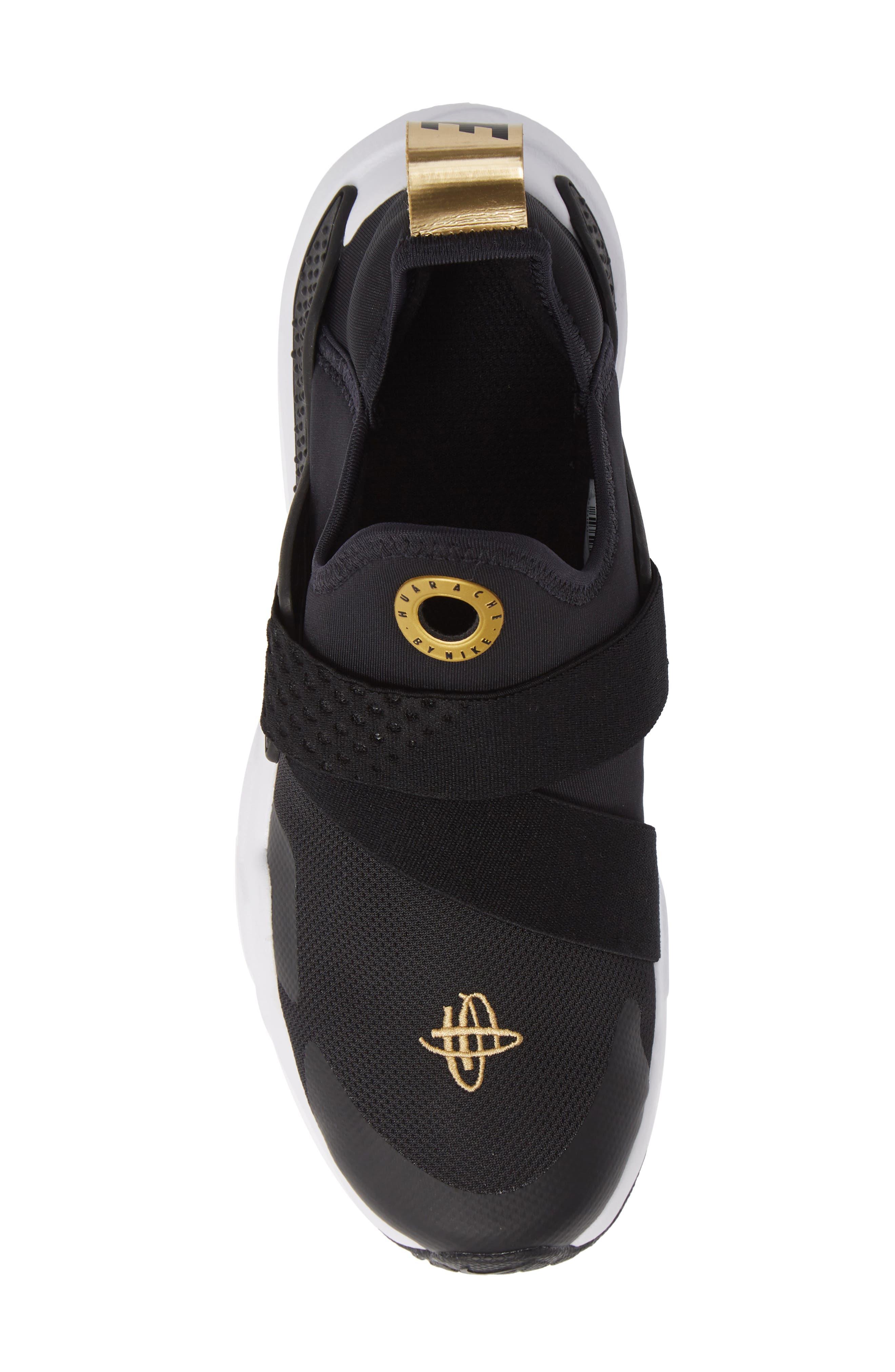Huarache Extreme Sneaker,                             Alternate thumbnail 5, color,                             BLACK/ METALLIC GOLD/ WHITE