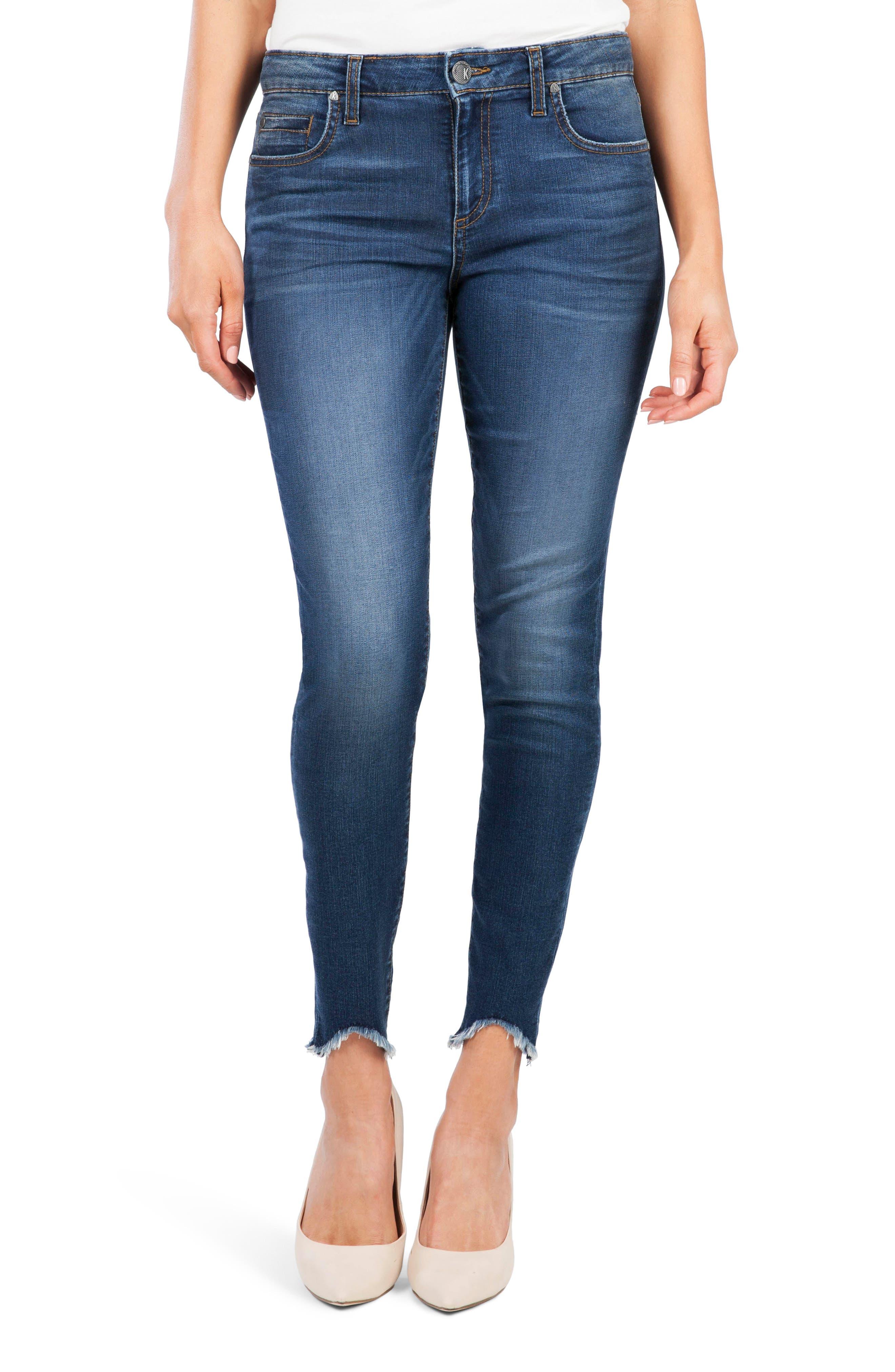 Kut From The Kloth Donna High Waist Frayed Hem Skinny Jeans, Blue