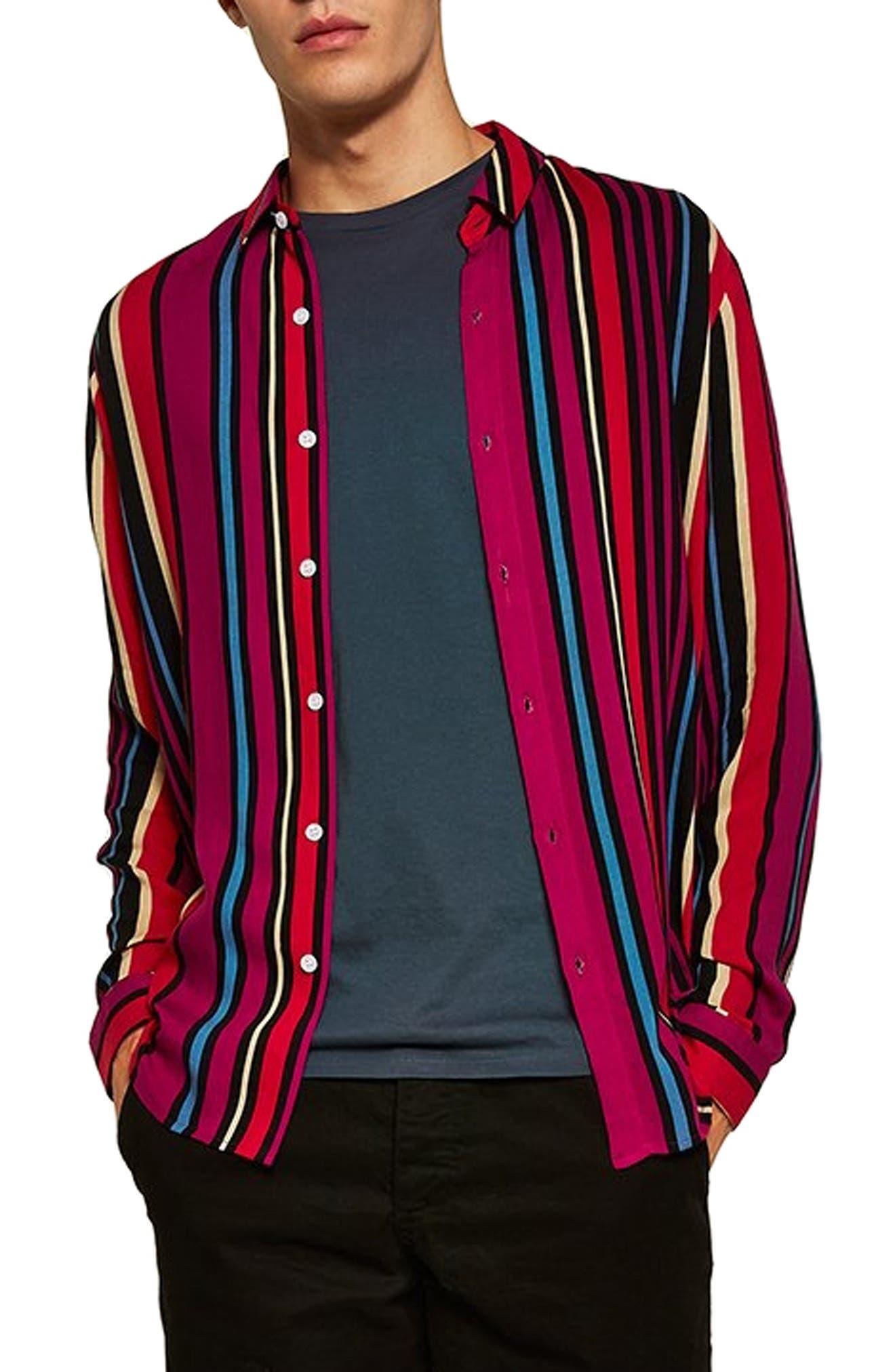 Topman Stripe Classic Fit Sport Shirt, Pink