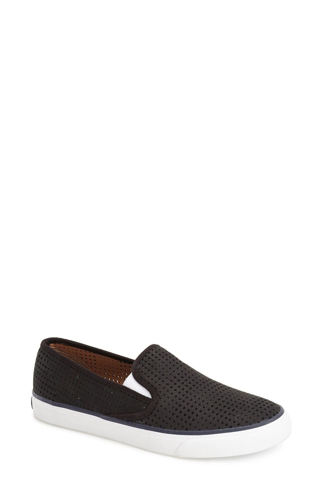 'Seaside' Perforated Slip-On Sneaker,                             Main thumbnail 1, color,                             001