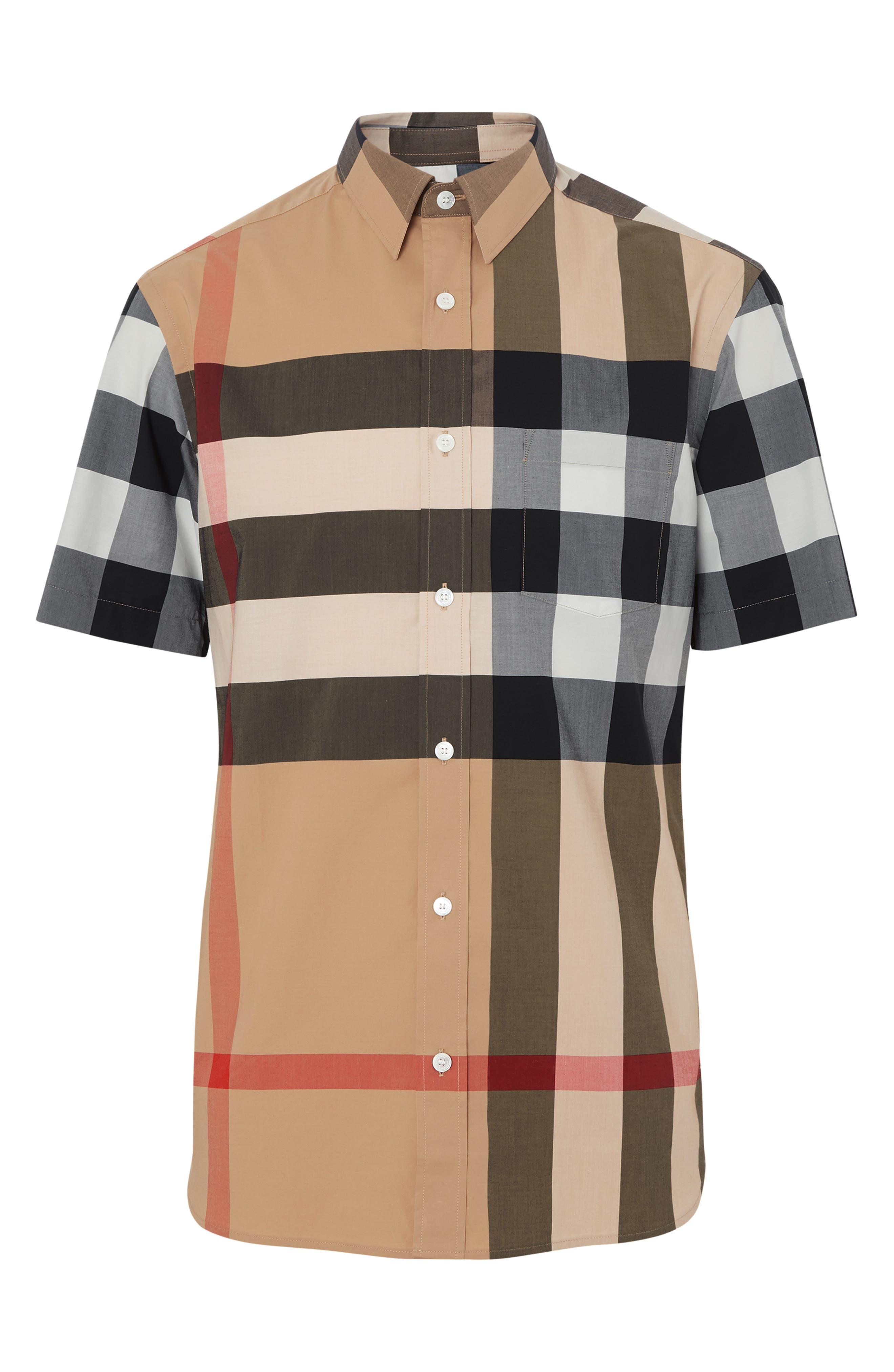 BURBERRY,                             Windsor Plaid Shirt,                             Alternate thumbnail 3, color,                             CAMEL