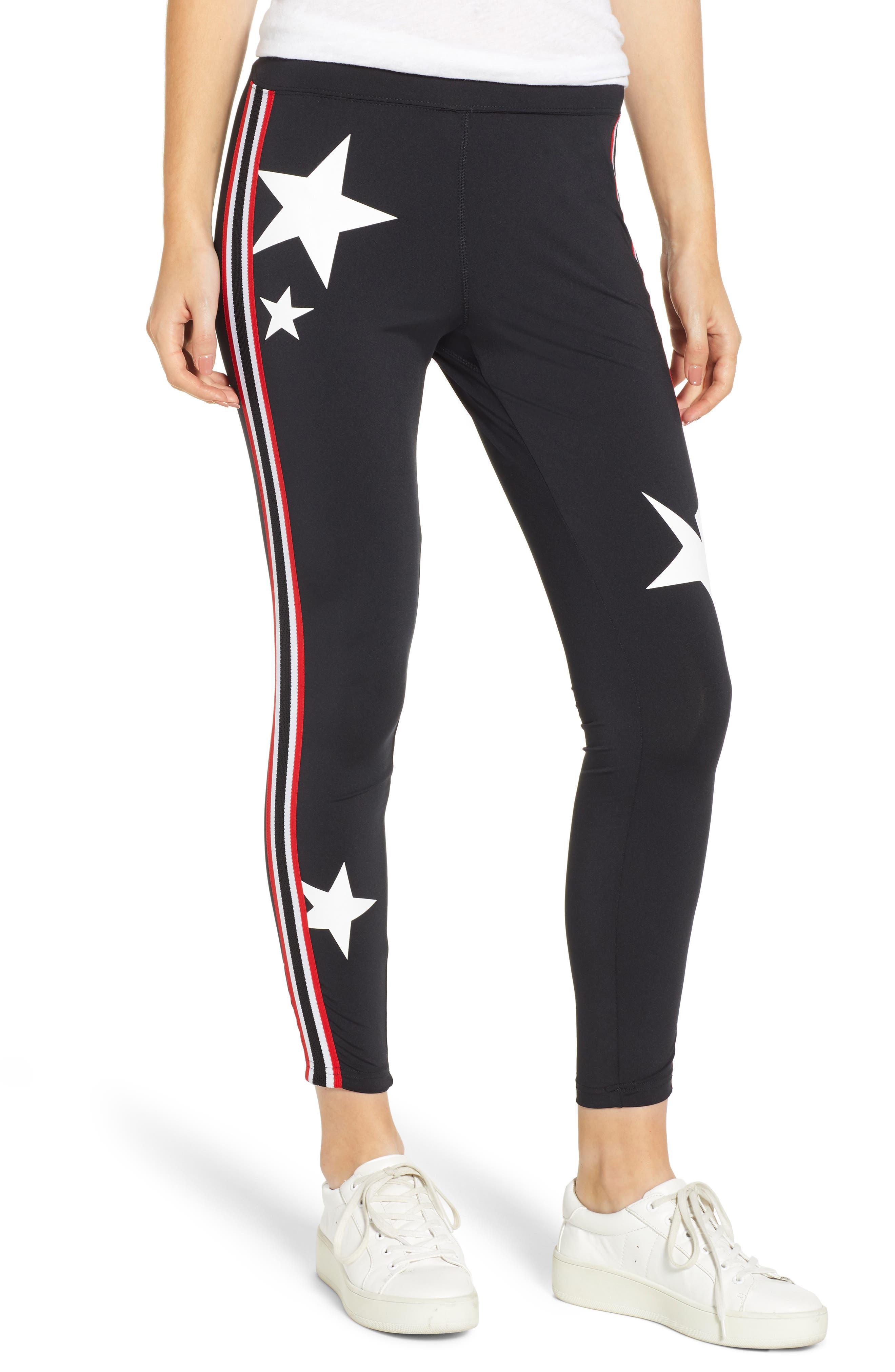 Pam & Gela Star & Stripe Leggings, Size Petite - Black