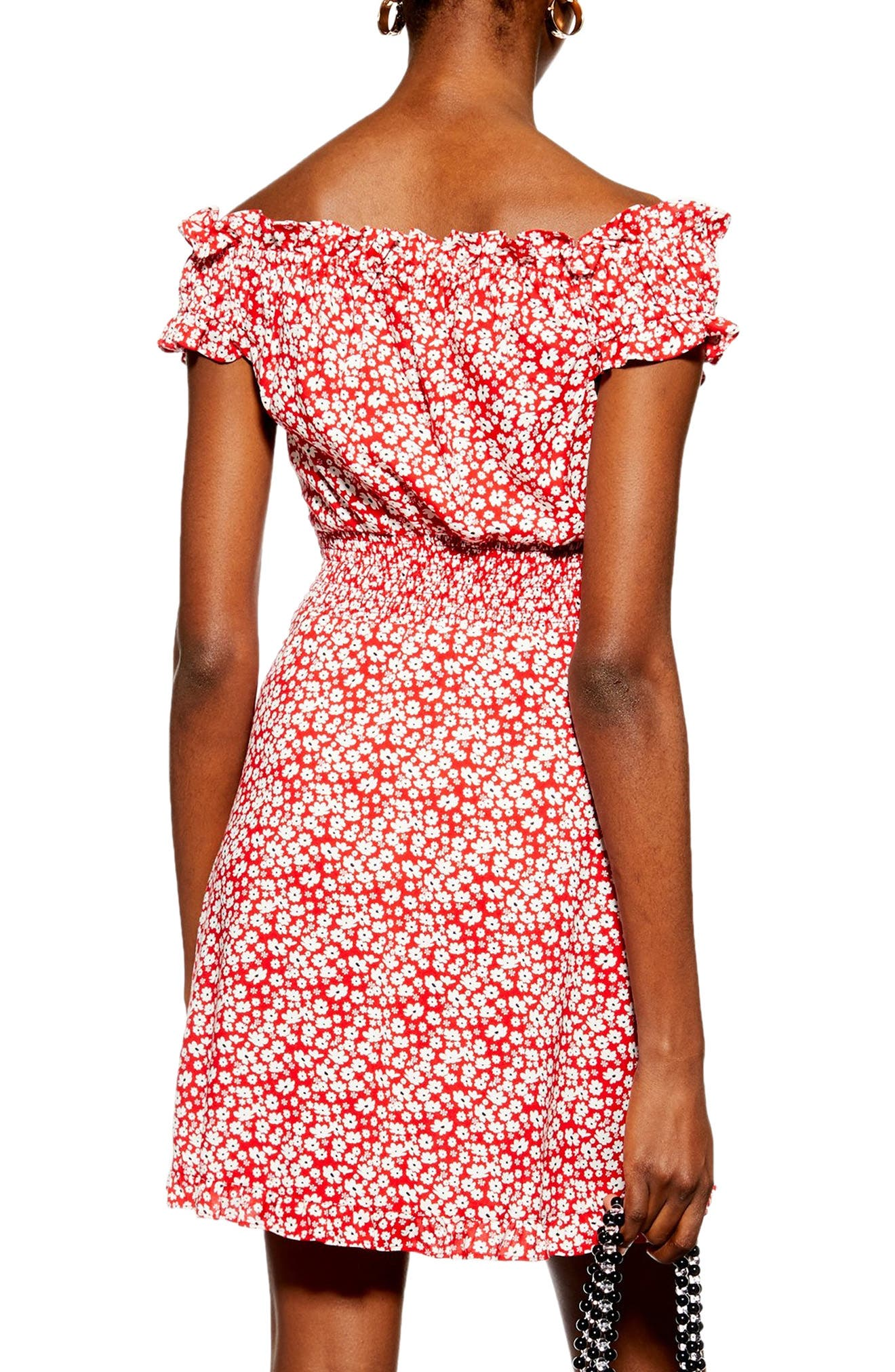 TOPSHOP,                             Ditsy Floral Minidress,                             Alternate thumbnail 2, color,                             RED MULTI