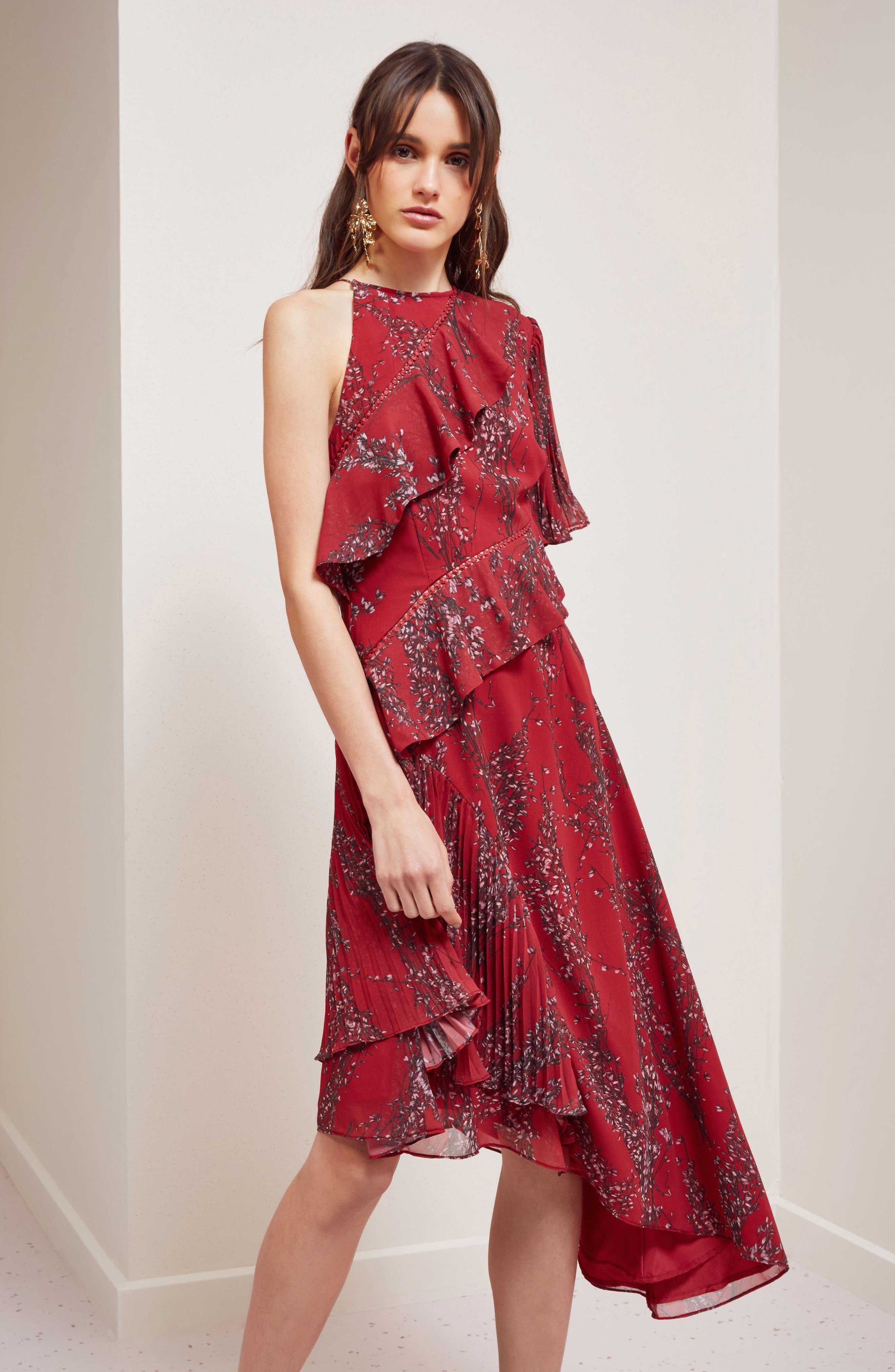 Asymmetrical Ruffle Dress,                             Alternate thumbnail 8, color,                             622