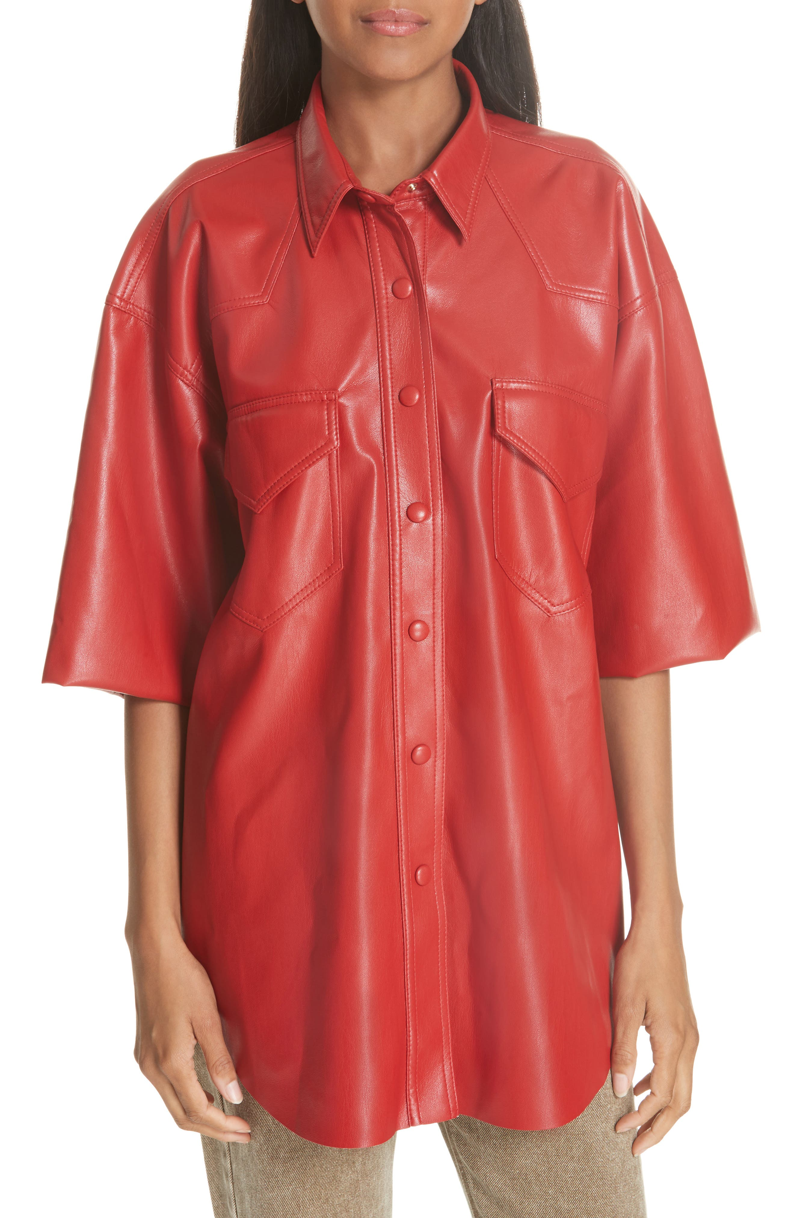 Seymour Faux Leather Shirt,                         Main,                         color, RED