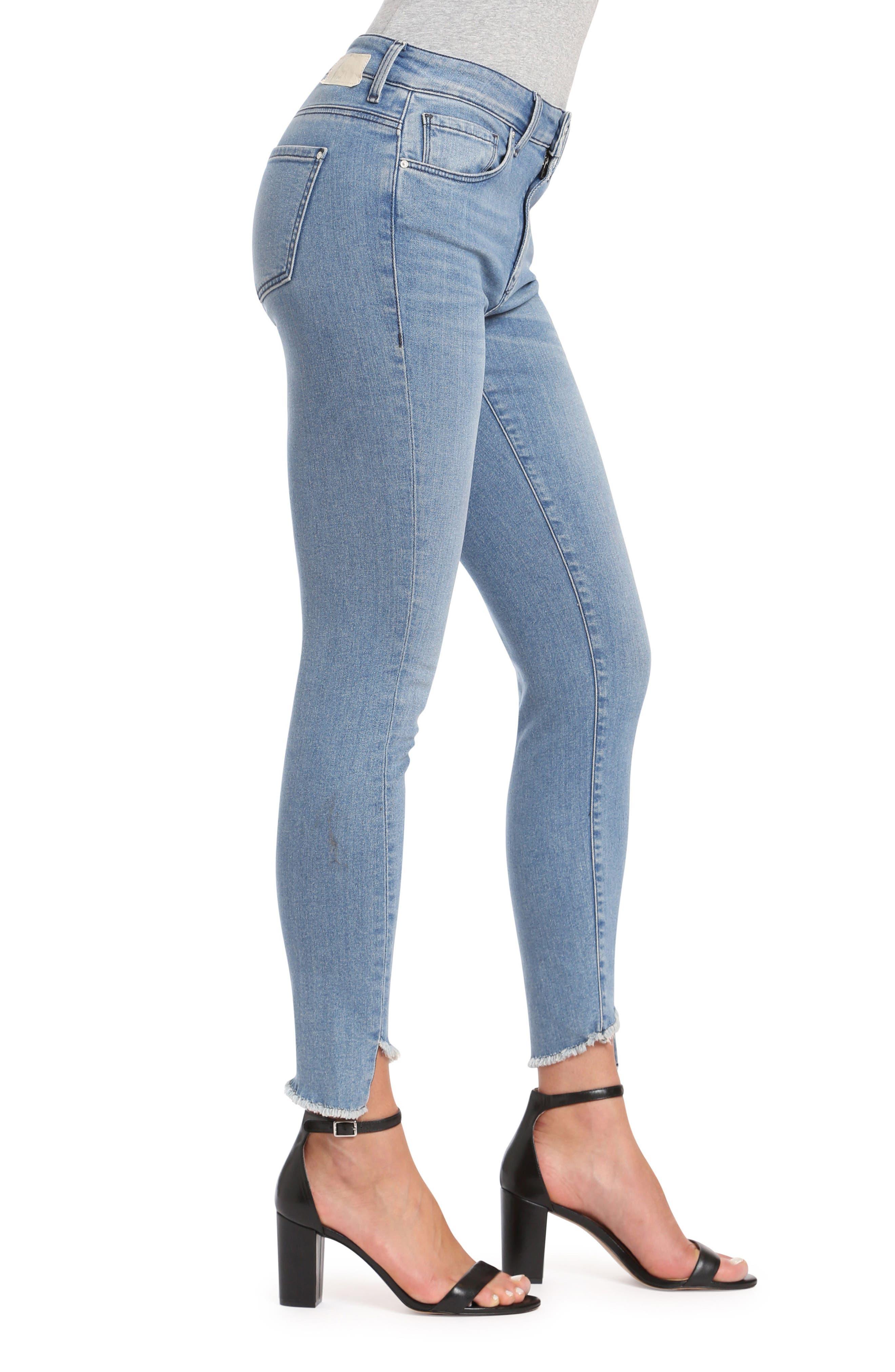 Tess Twisted Step Hem Skinny Jeans,                             Alternate thumbnail 3, color,                             400