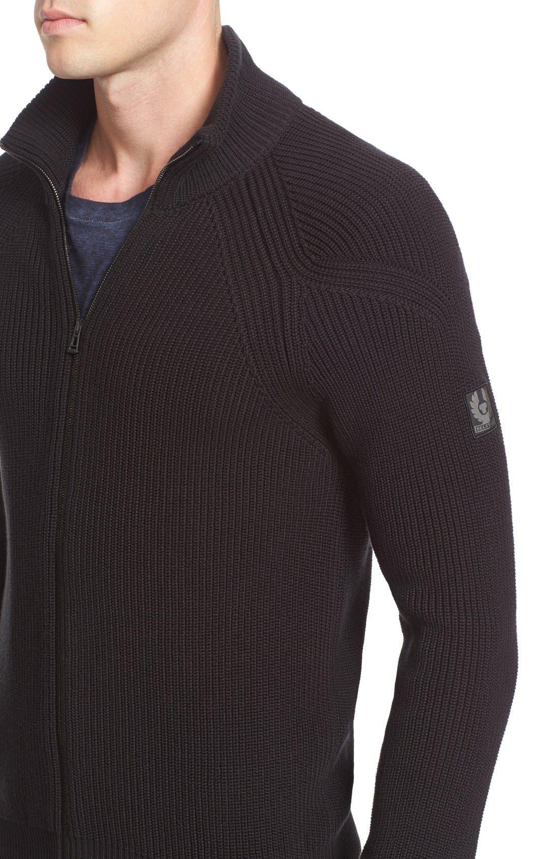 Parkgate Zip Front Mock Neck Sweater,                             Alternate thumbnail 4, color,                             001