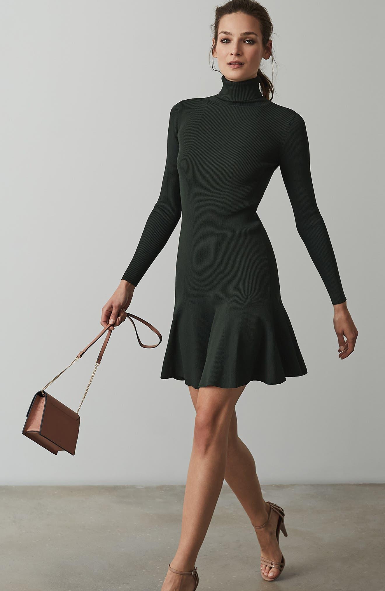 REISS,                             Mimi Turtleneck Sweater Dress,                             Alternate thumbnail 5, color,                             GREEN